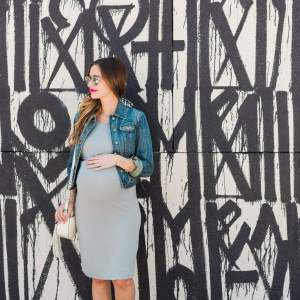 grey bobeau dress with a denim jacket and white converse