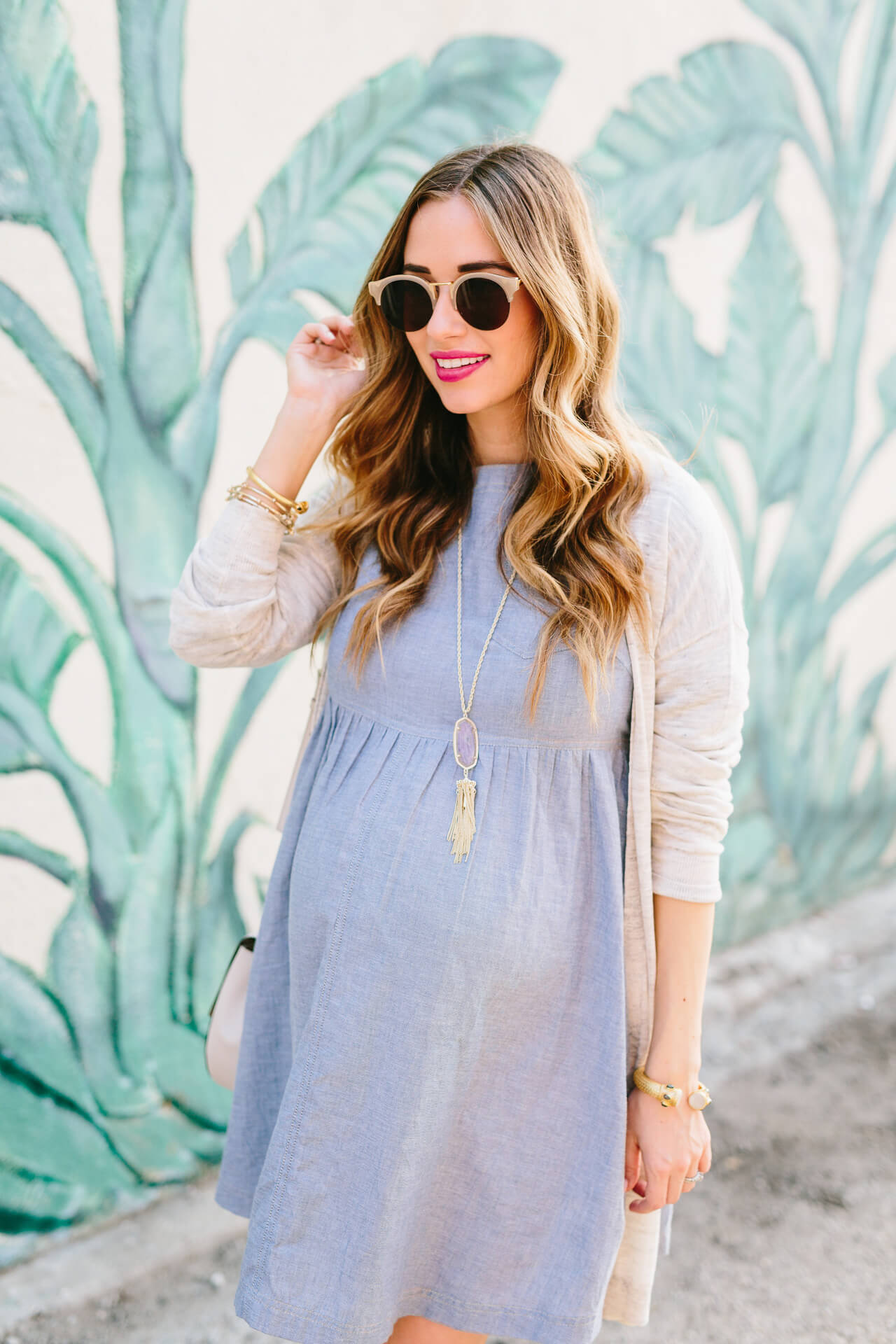 beige cardigan with blue chambray dress