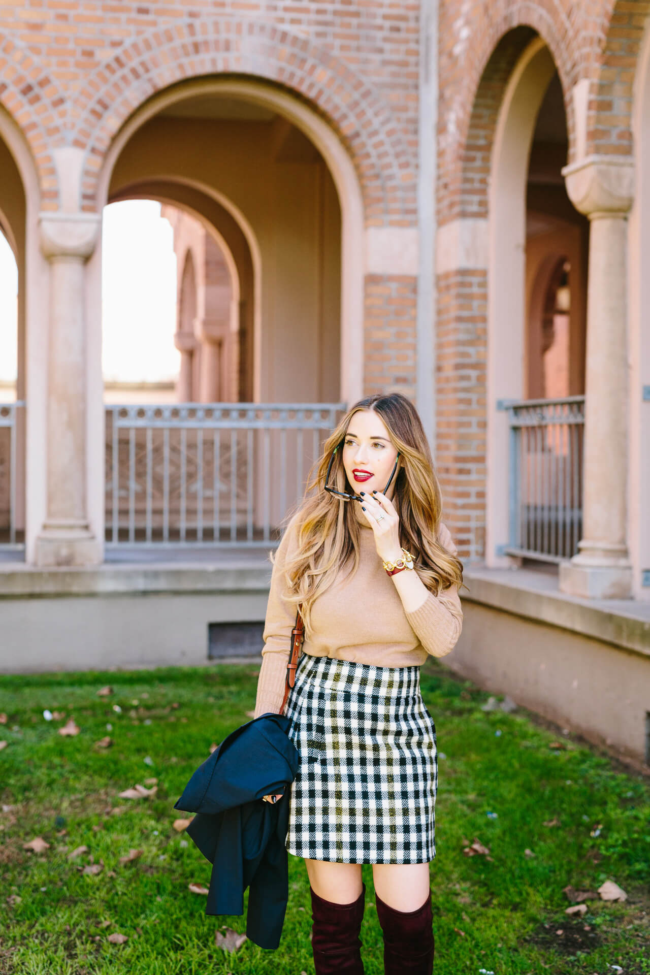 camel turtleneck with tweed mini skirt- fall outfit inspiration