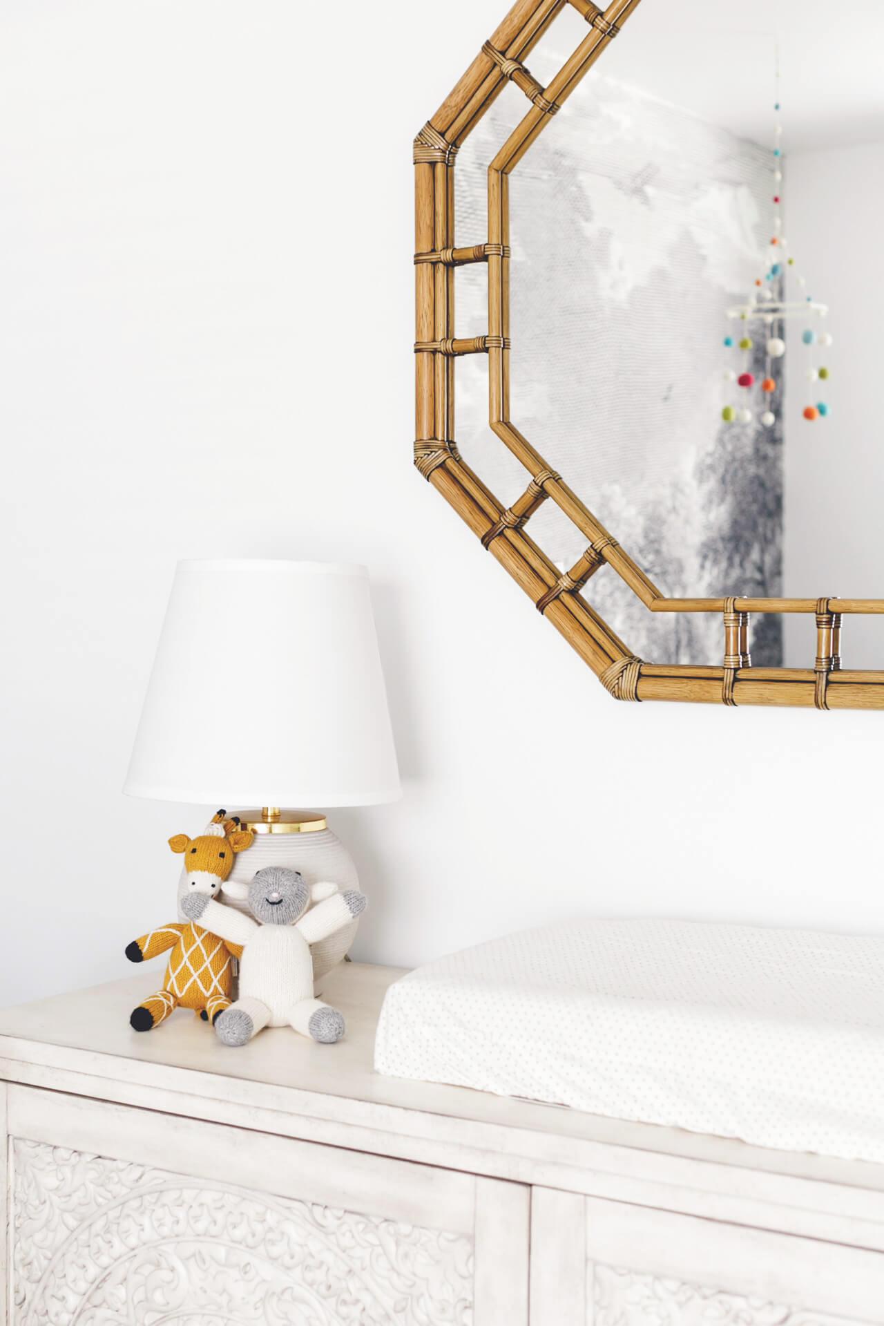 rattan mirror over dresser