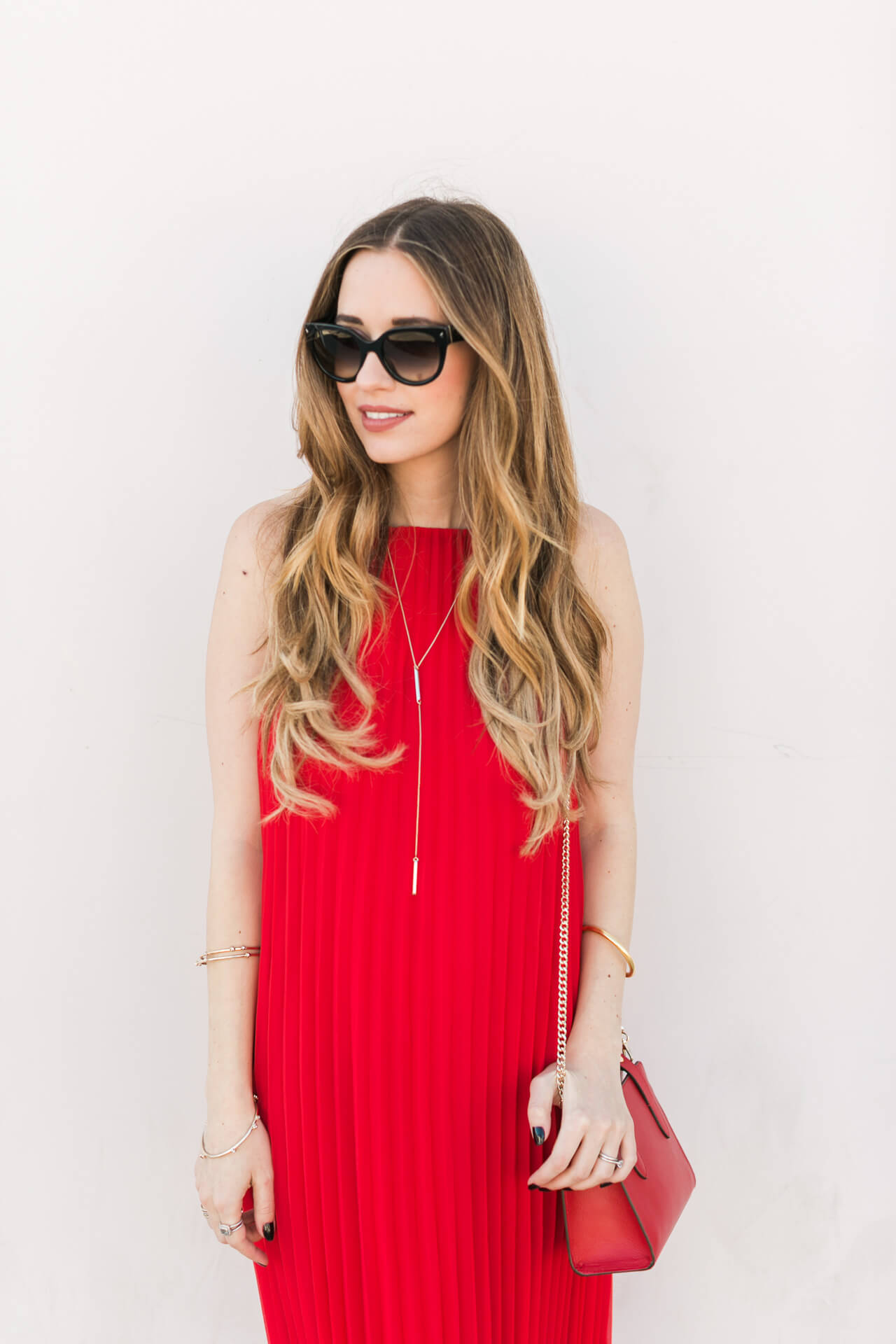 feminine outfit inspiration with a red dress