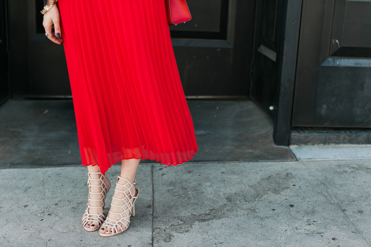 red pleated midi dress with steve madden slithur sandals (currently under $100!)