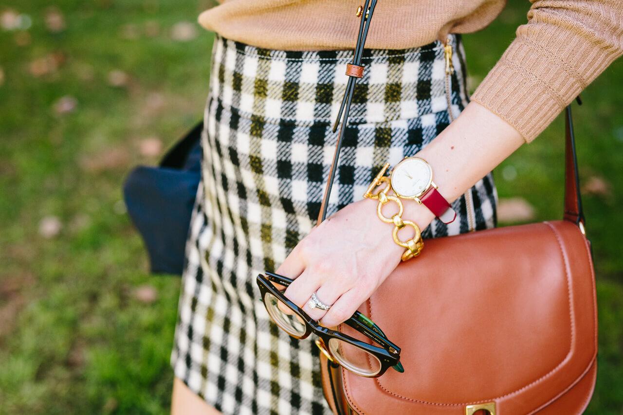 tweed mini skirt with brown saddle bag