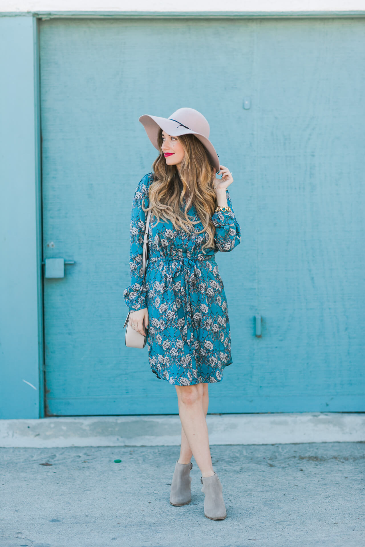 blue printed shirtdress with ankle booties - fall outfit inspiration that's country girl inspired