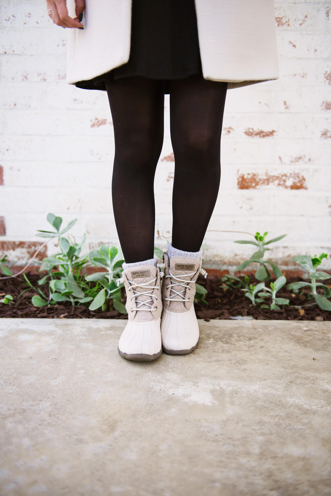 quilted wool ivory duck boots