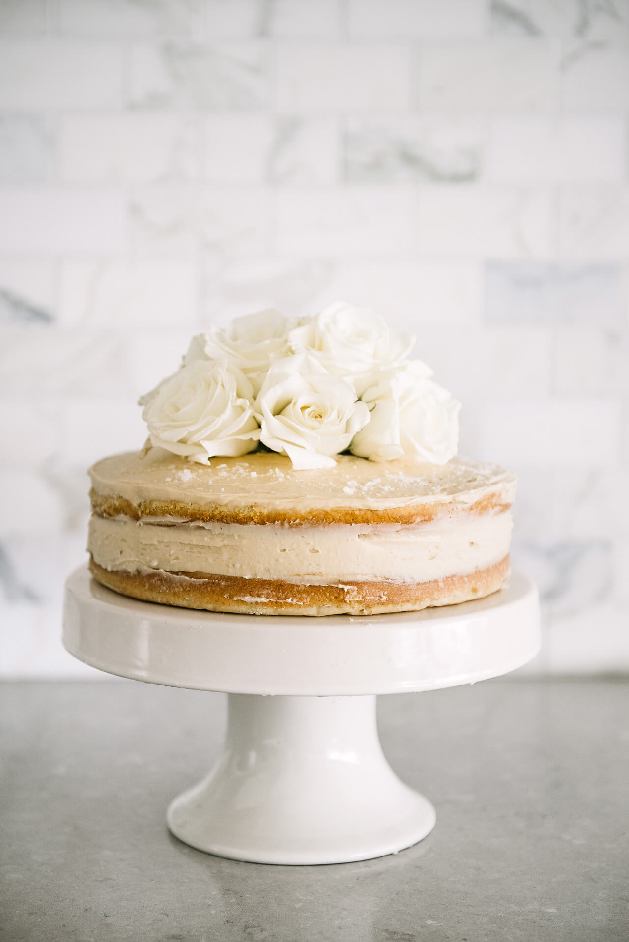 Sweet and Salty Vanilla Bean Cake with Caramel Frosting recipe