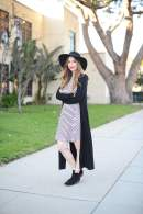 black long cardigan with striped dress