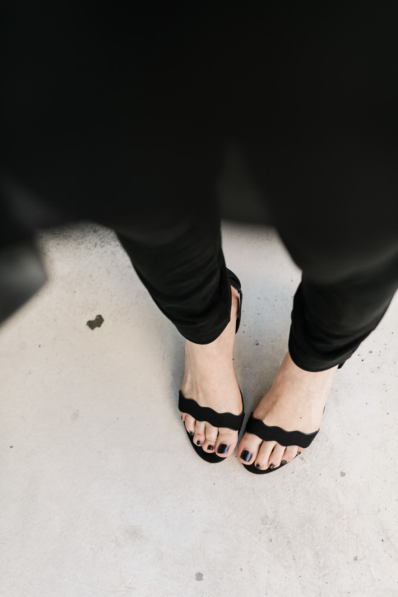 black scalloped sandals from chinese laundry