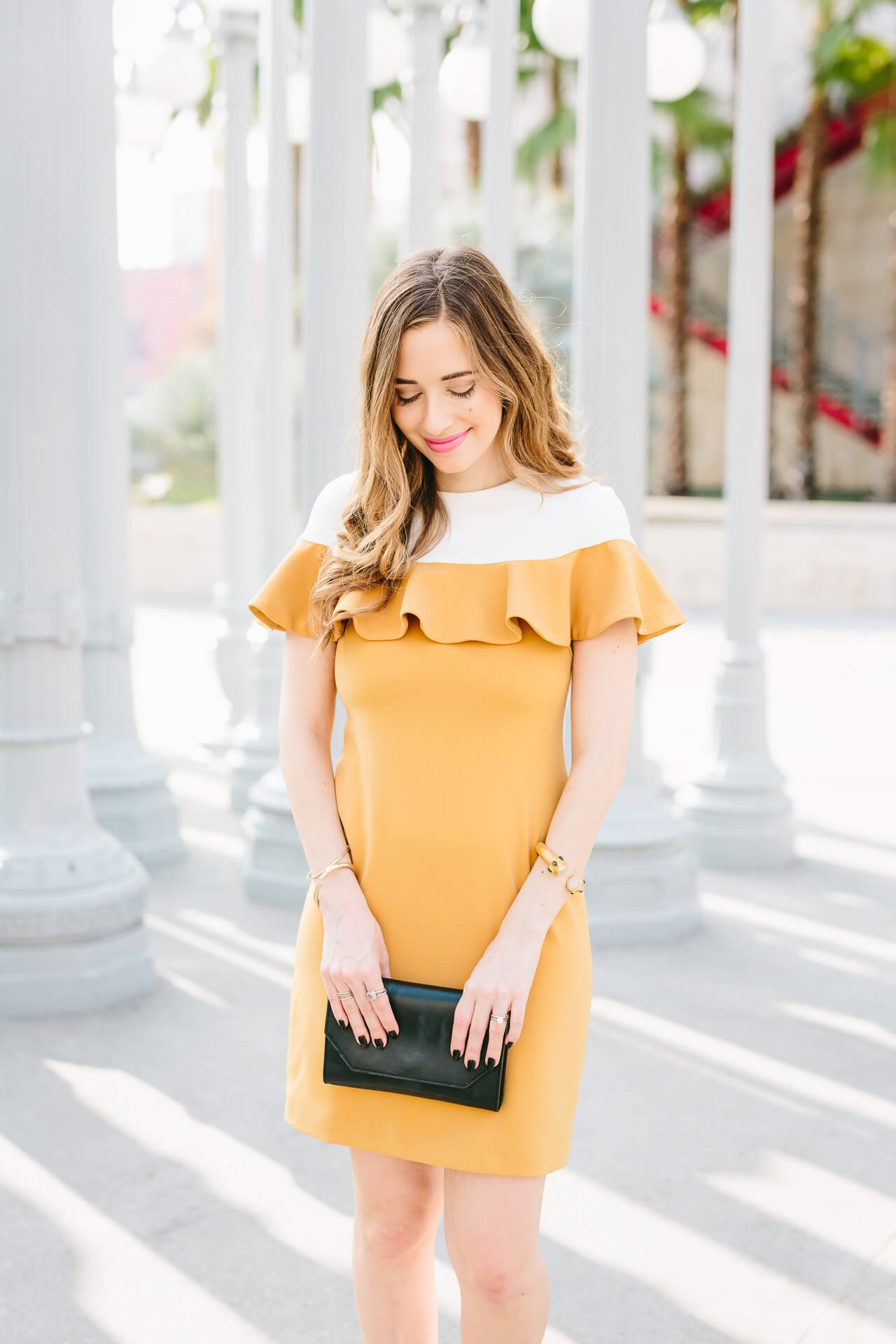a pretty mustard ruffle dress