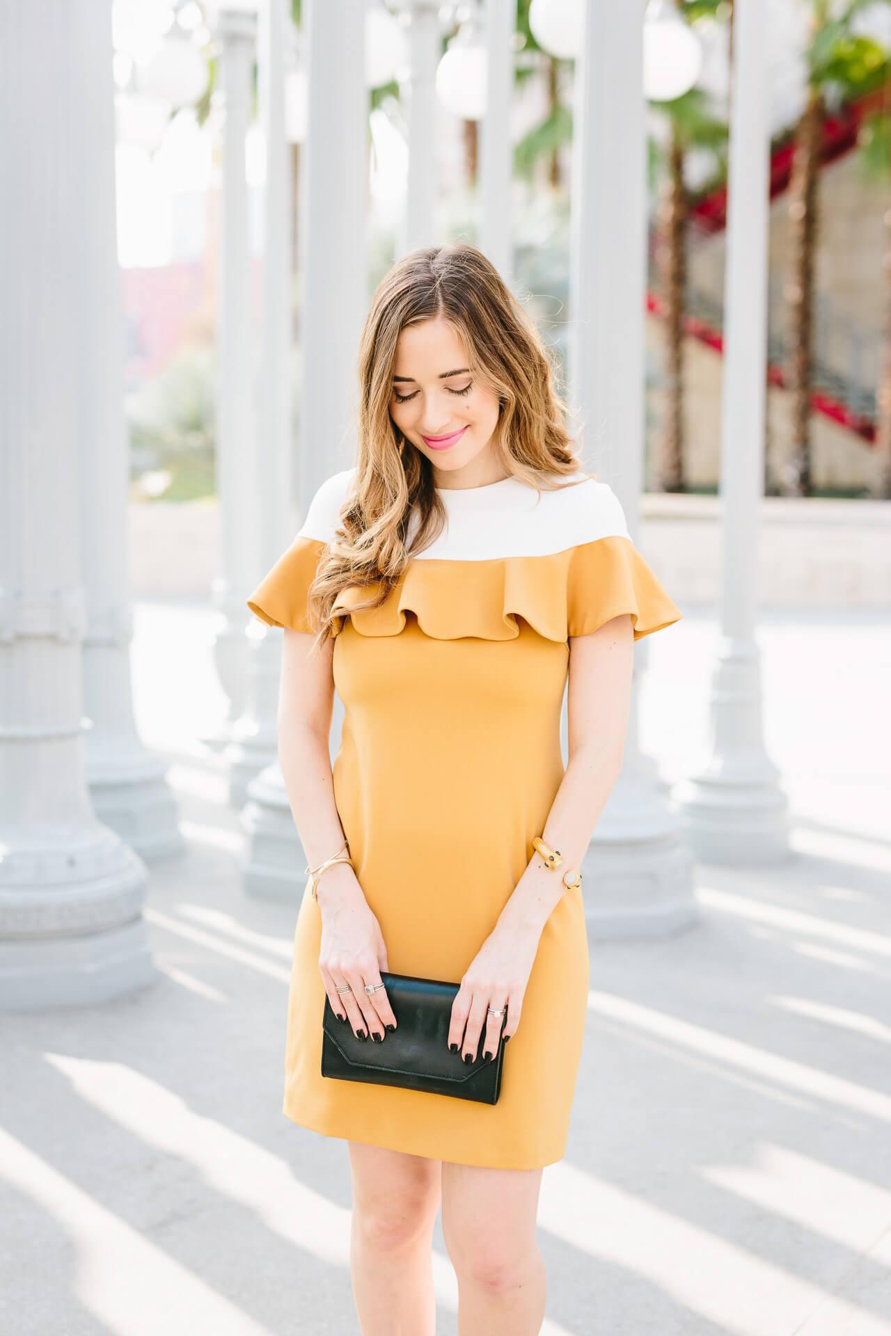 a pretty mustard ruffle dress