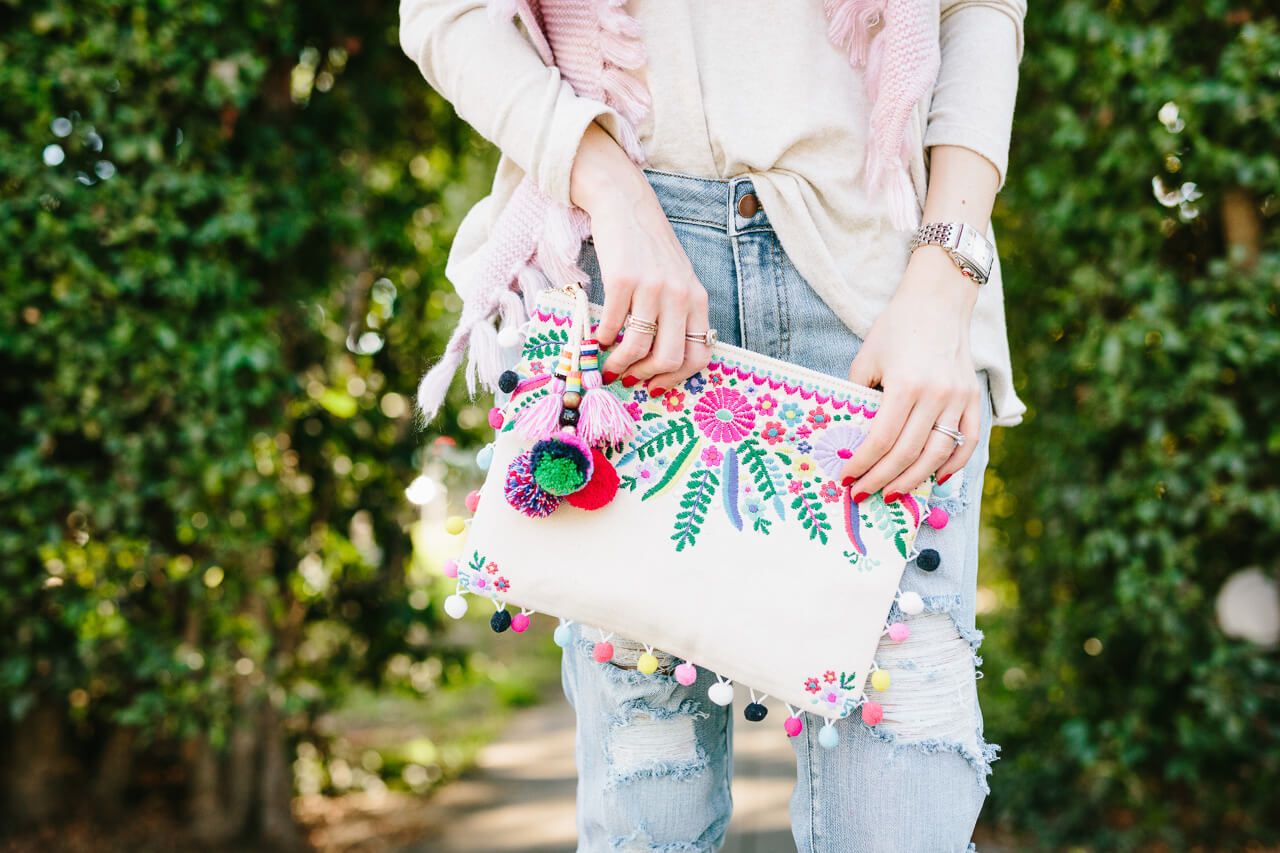 embroidered pom clutch - perfect for vacation!