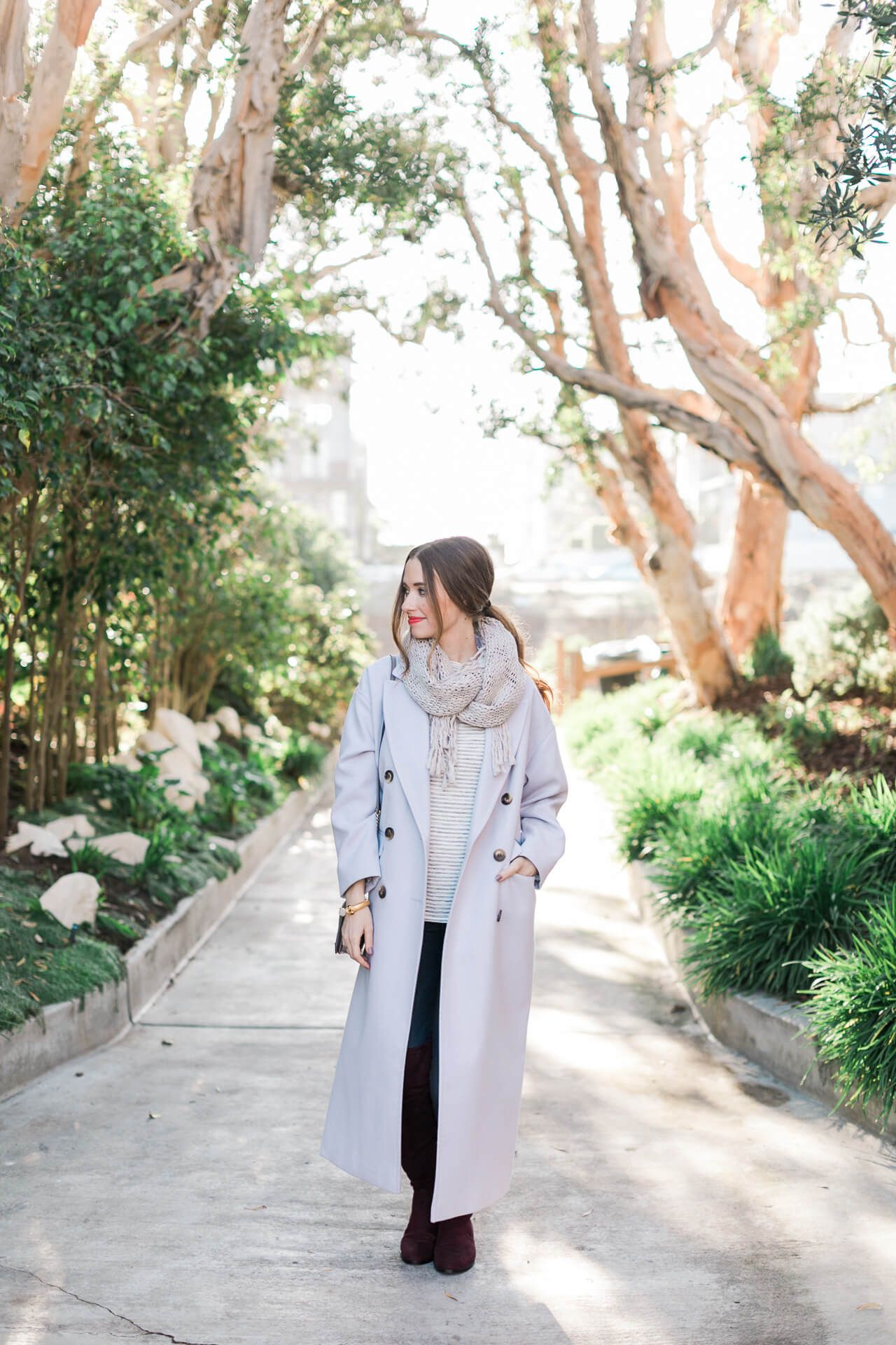 Lavender Coat with striped top and over the knee boot