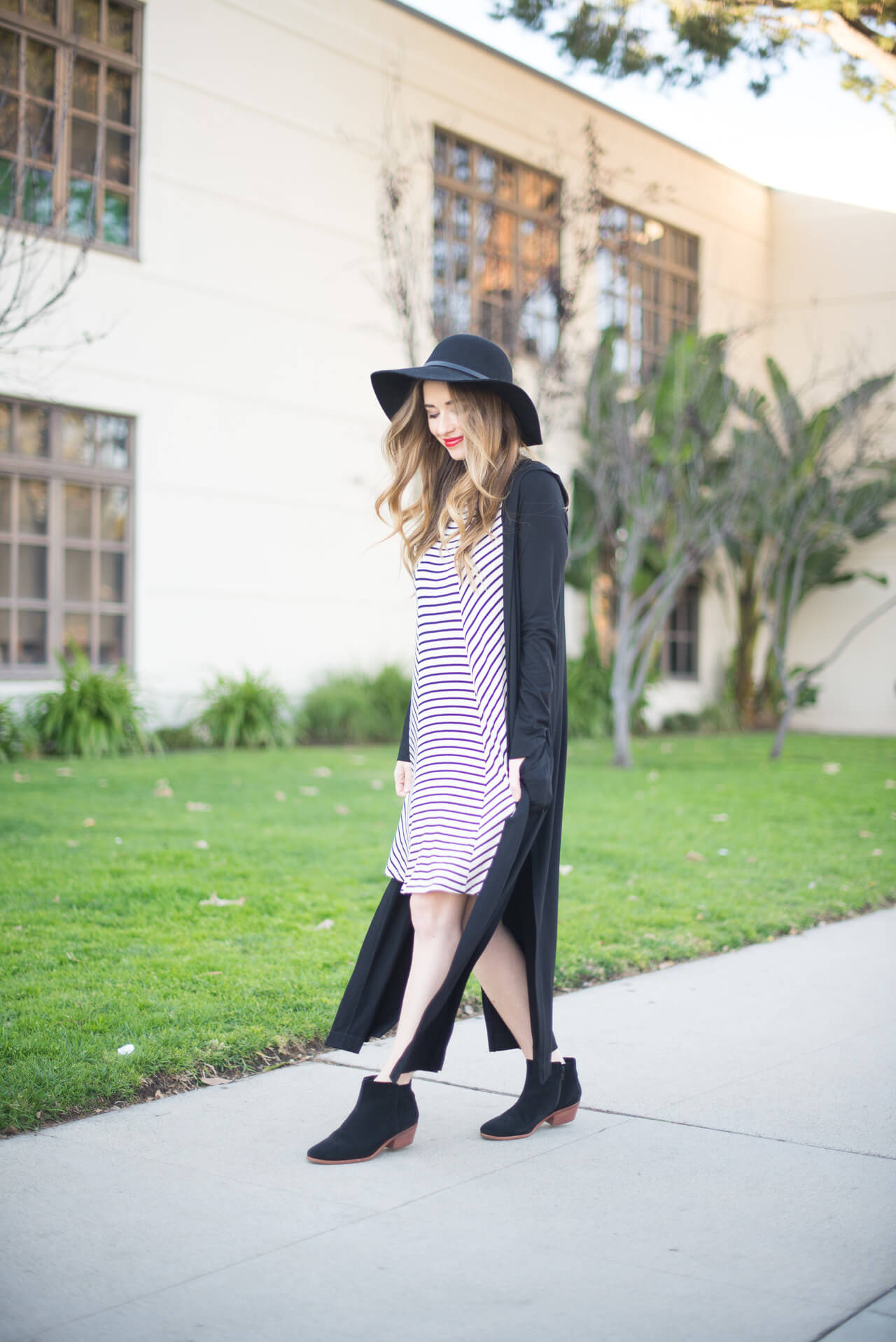long cardigan with striped dress and booties
