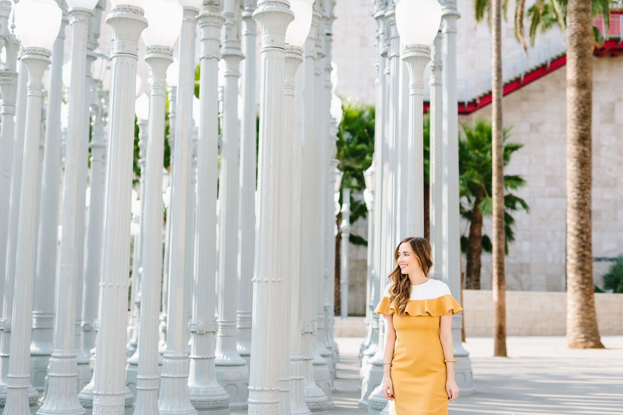 mustard and white ruffle dress- M Loves M @marmar