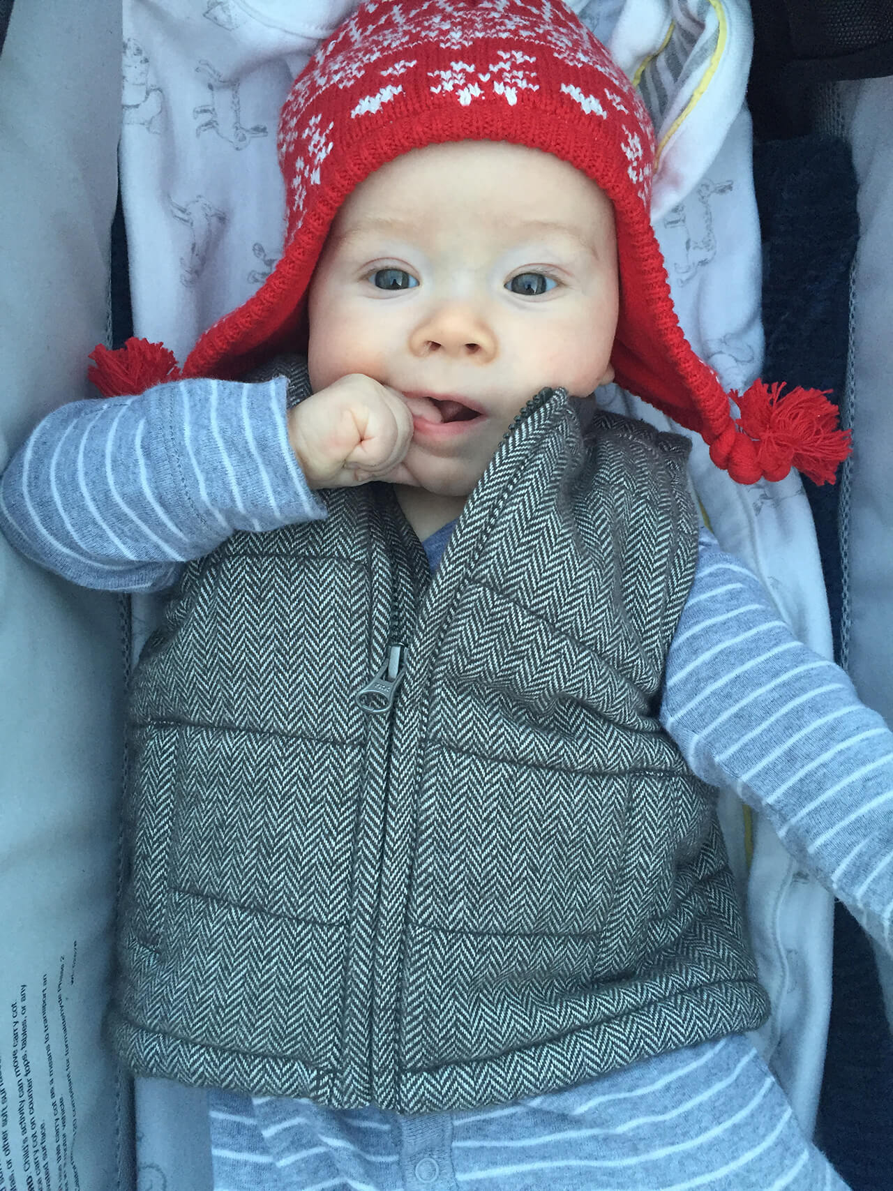 Augustine in a cute red hat