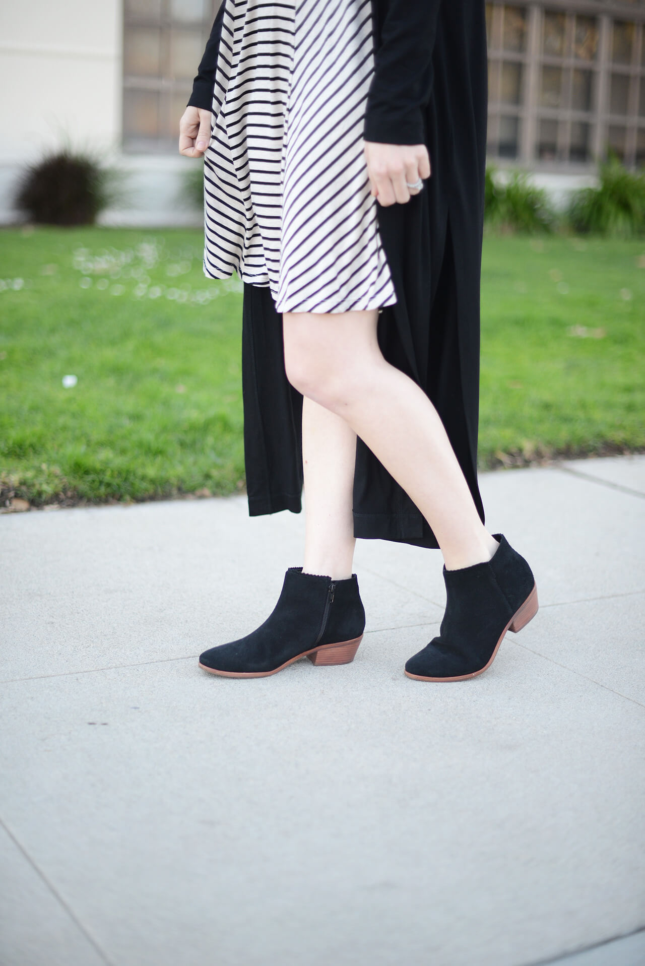 striped dress with black ankle booties