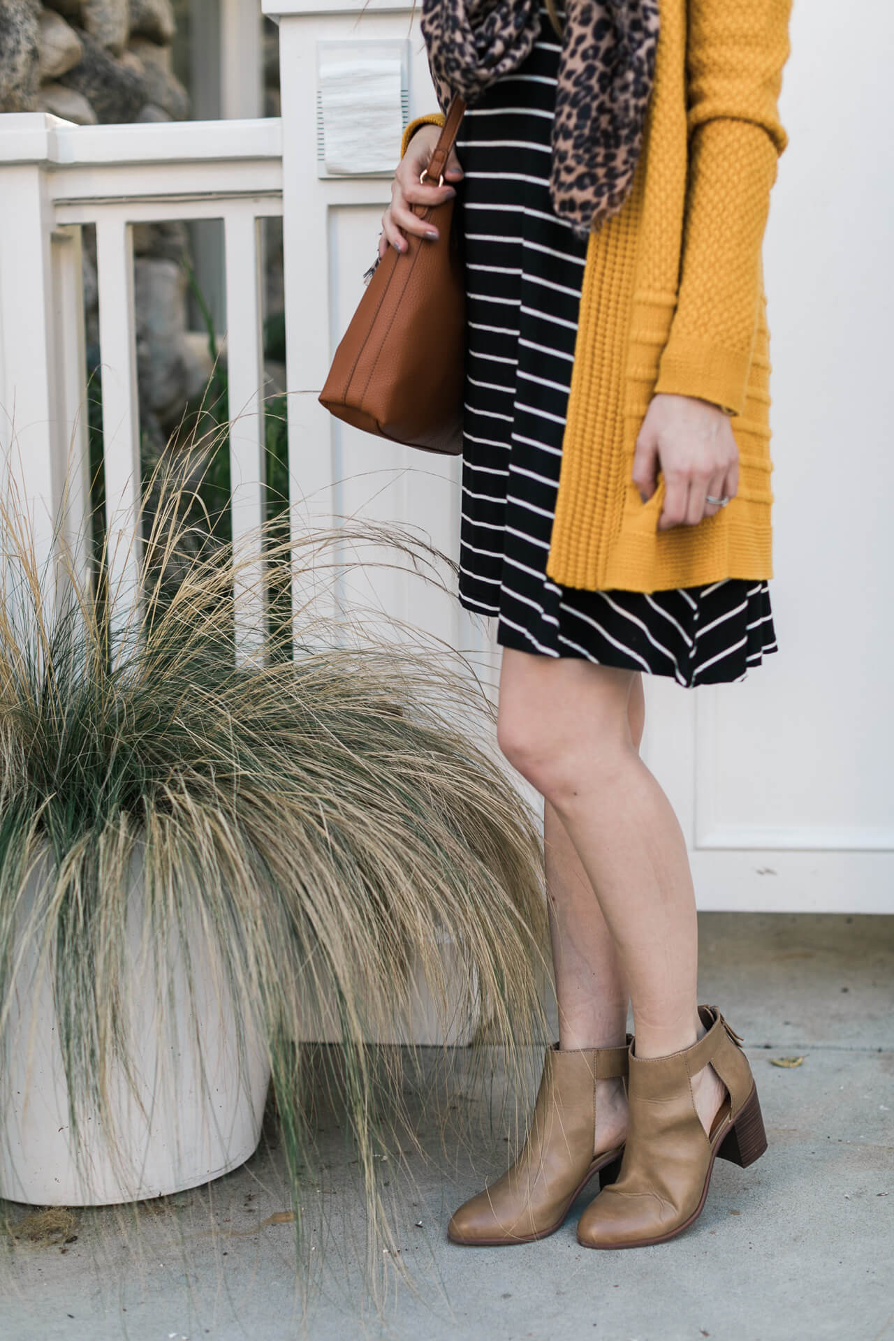 striped dress with ankle booties