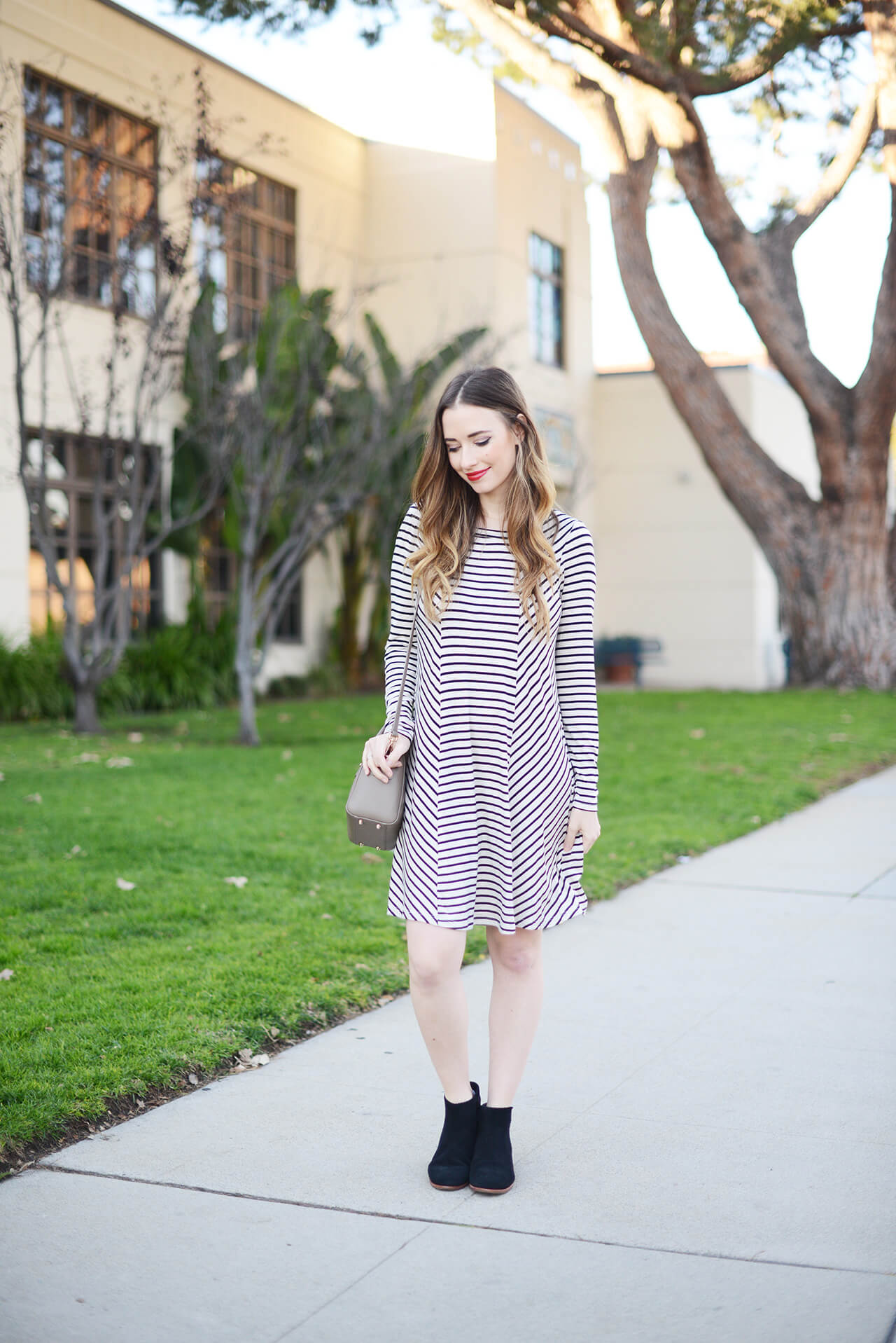 casual striped swing dress