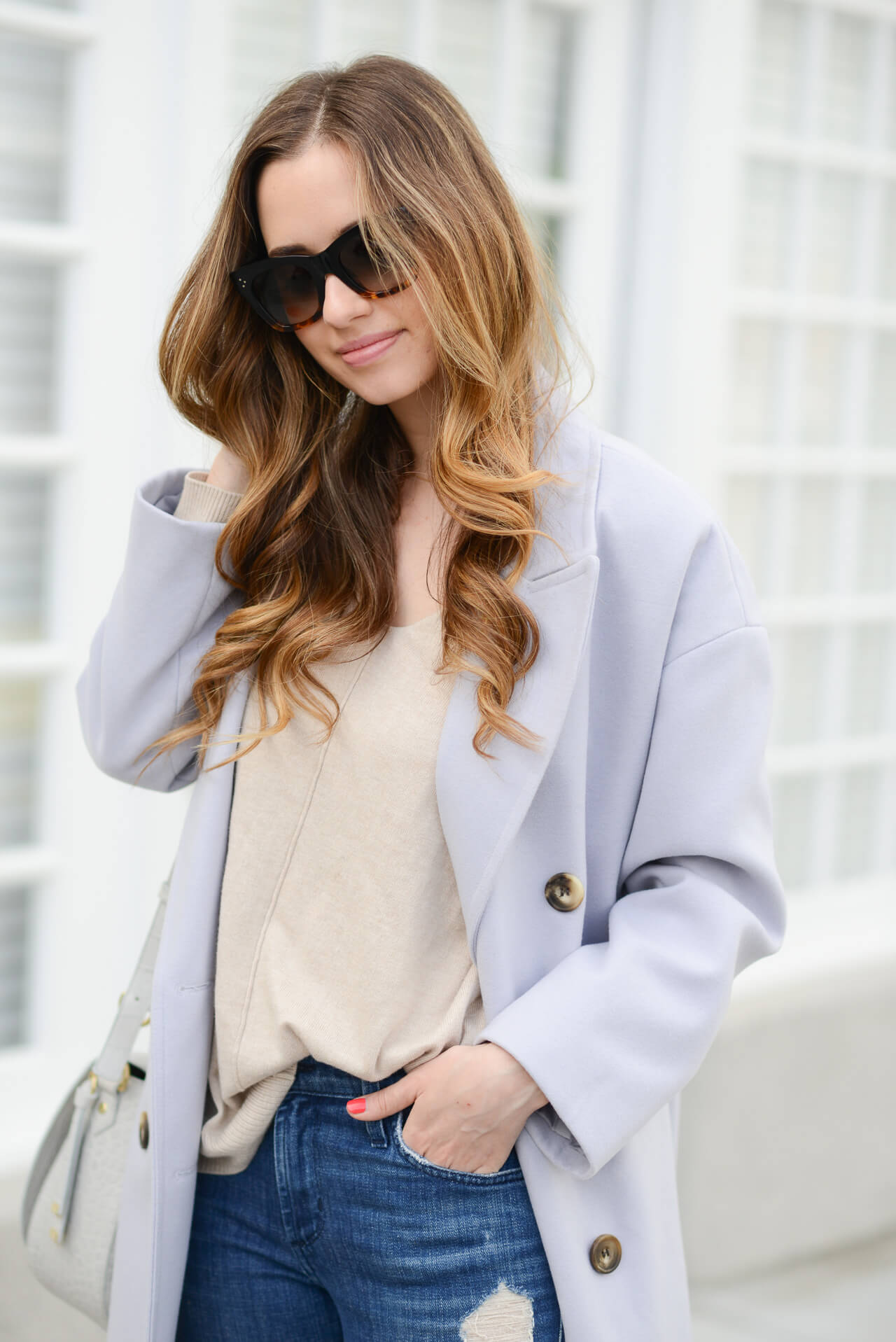 beige sweater with lavender coat