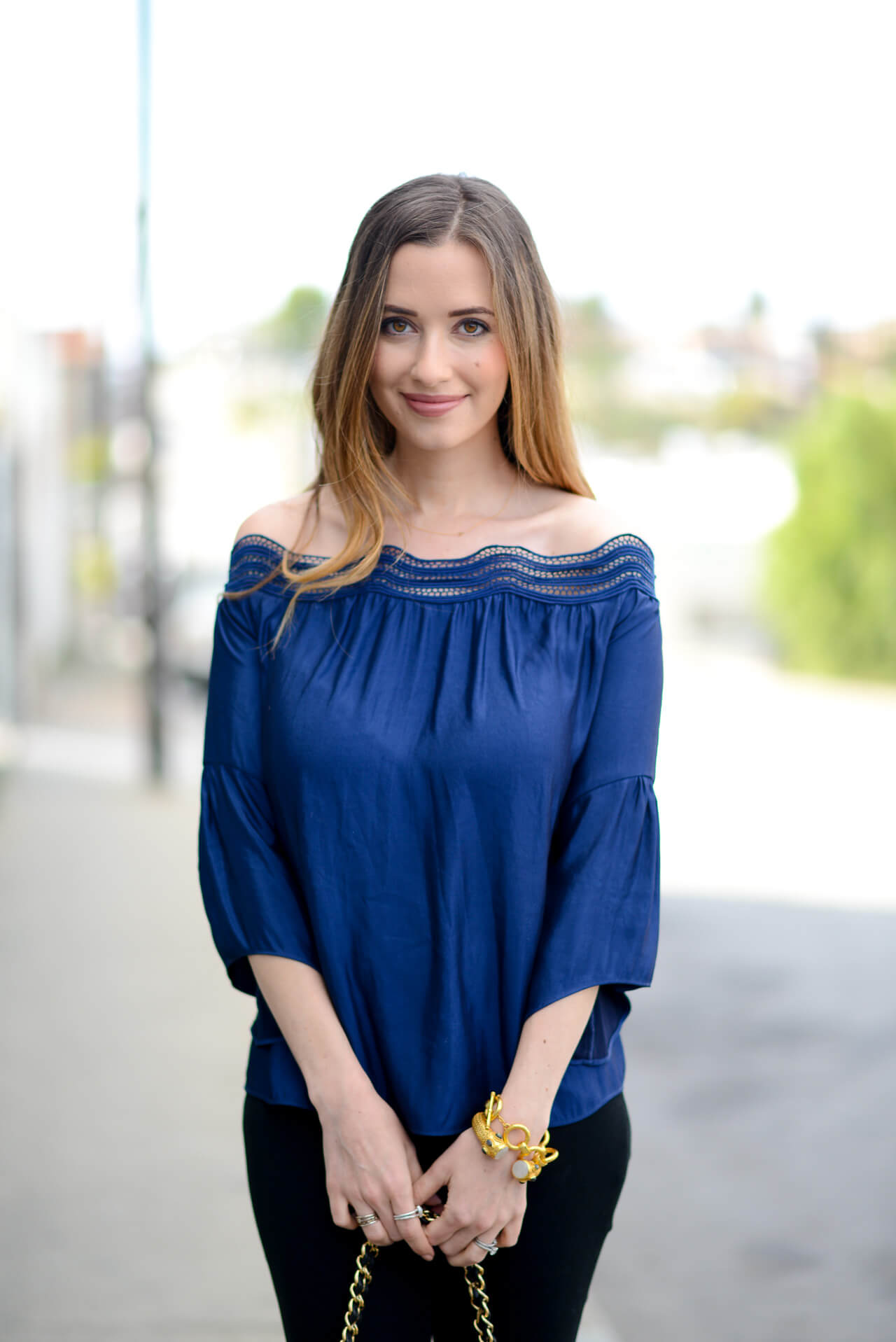 silk off the shoulder blouse with scalloped neckline