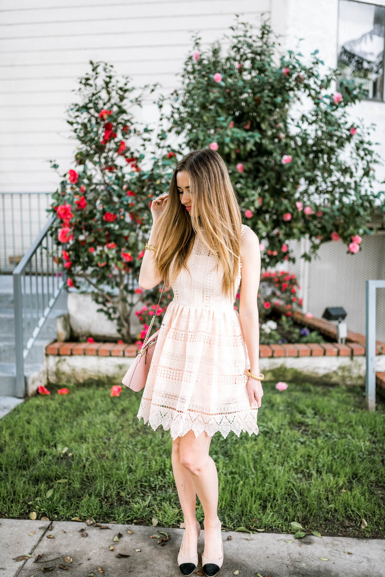 feminine spring outfit - pink lace bb dakota dress and chanel dupe slingback heels