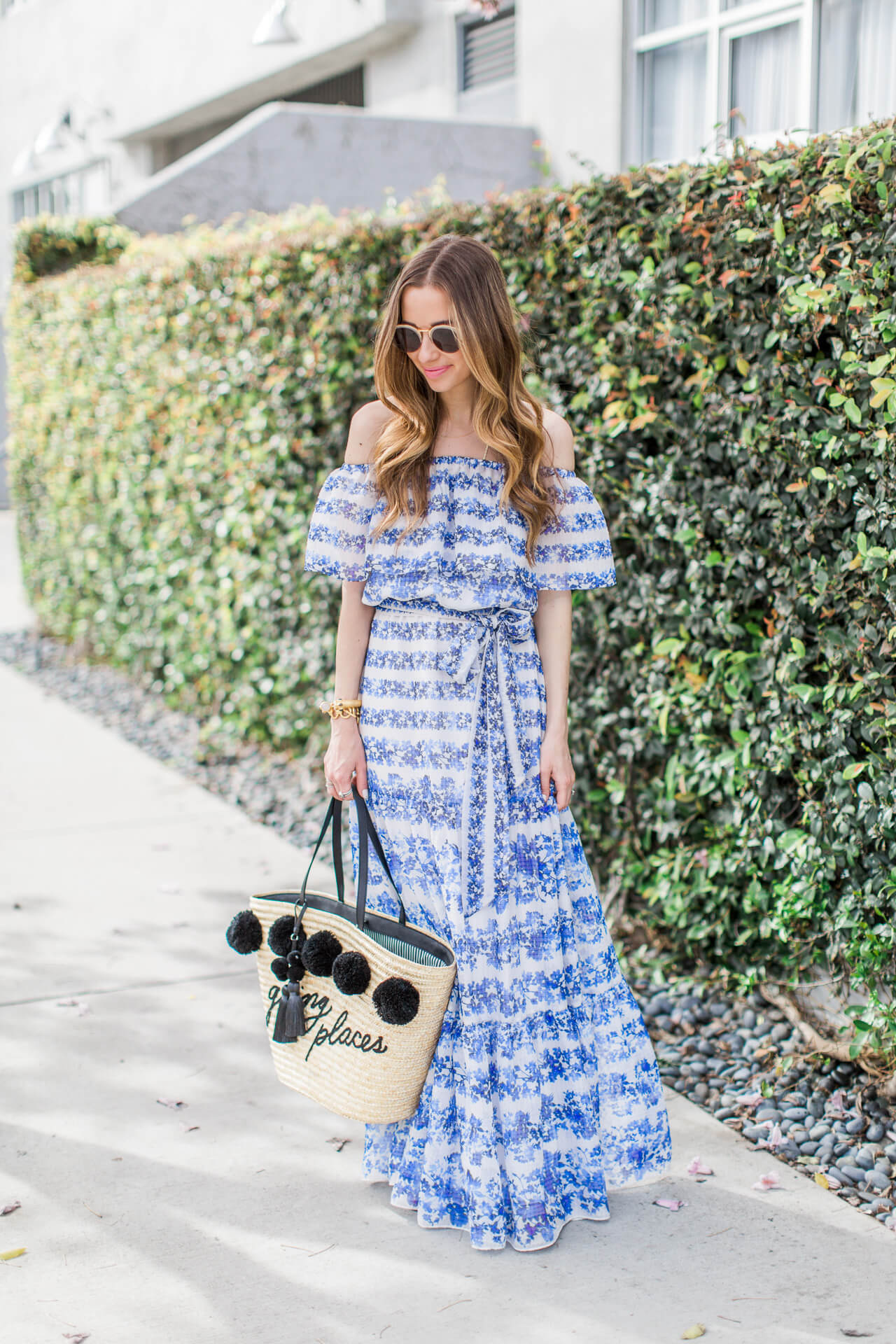 blue floral maxi dress that's perfect for spring