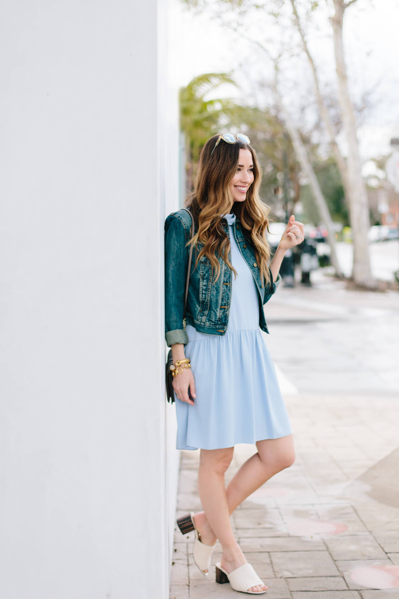 blue flounce dress with denim jacket