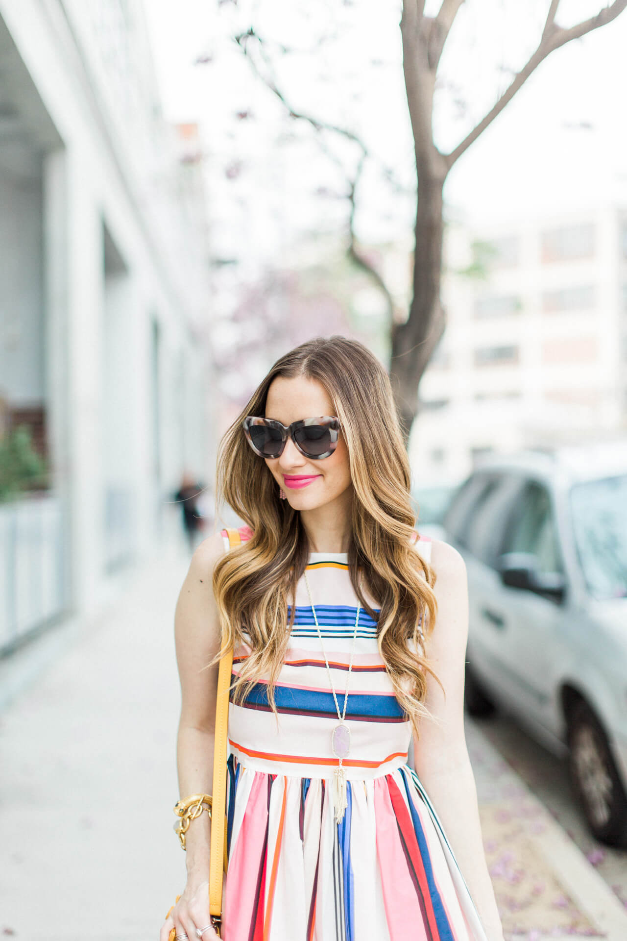 love this pretty colorful striped dress for spring 2017