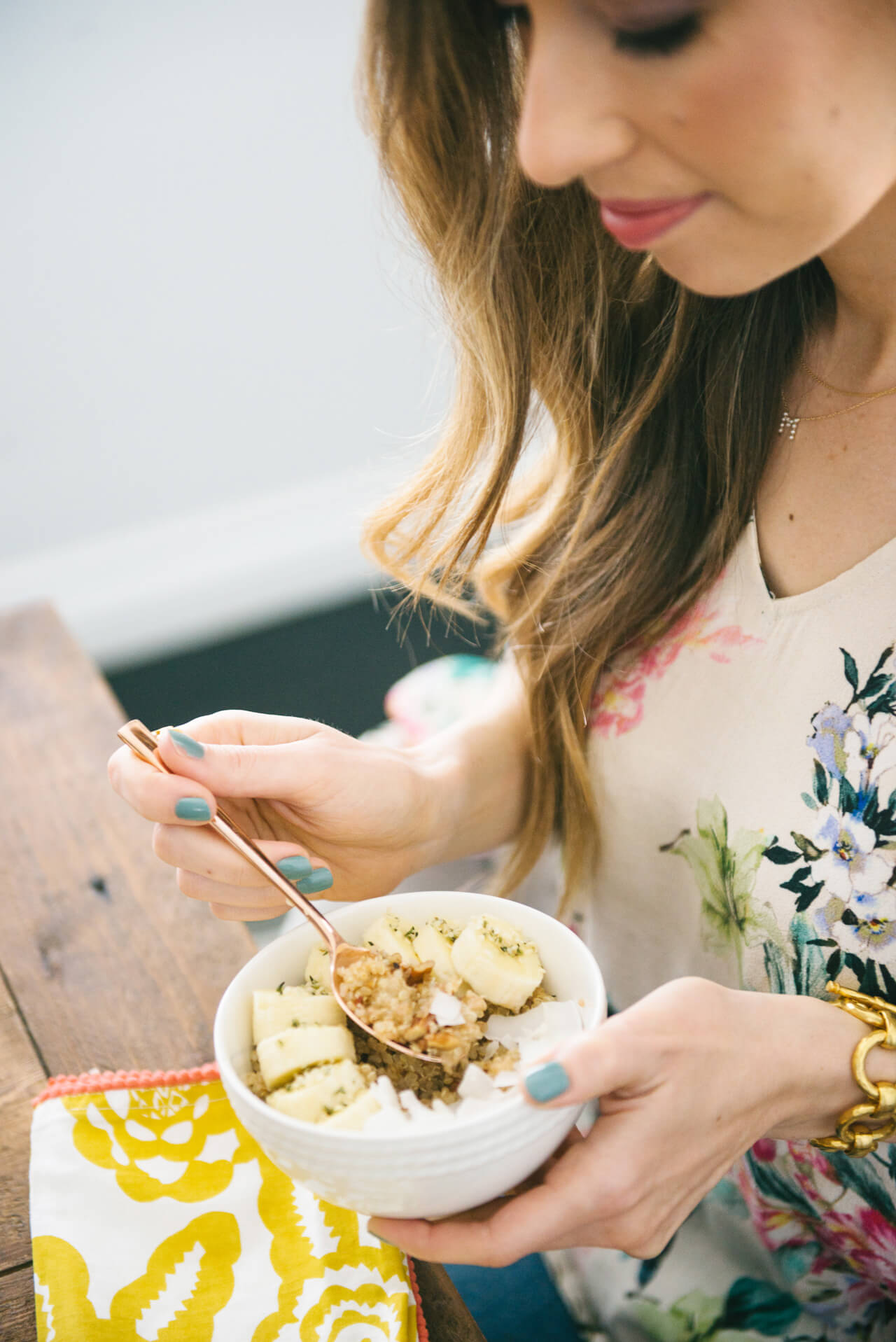 Banana and Toasted Pecan Quinoa Breakfast Bowl recipe- so easy and delicious to make!