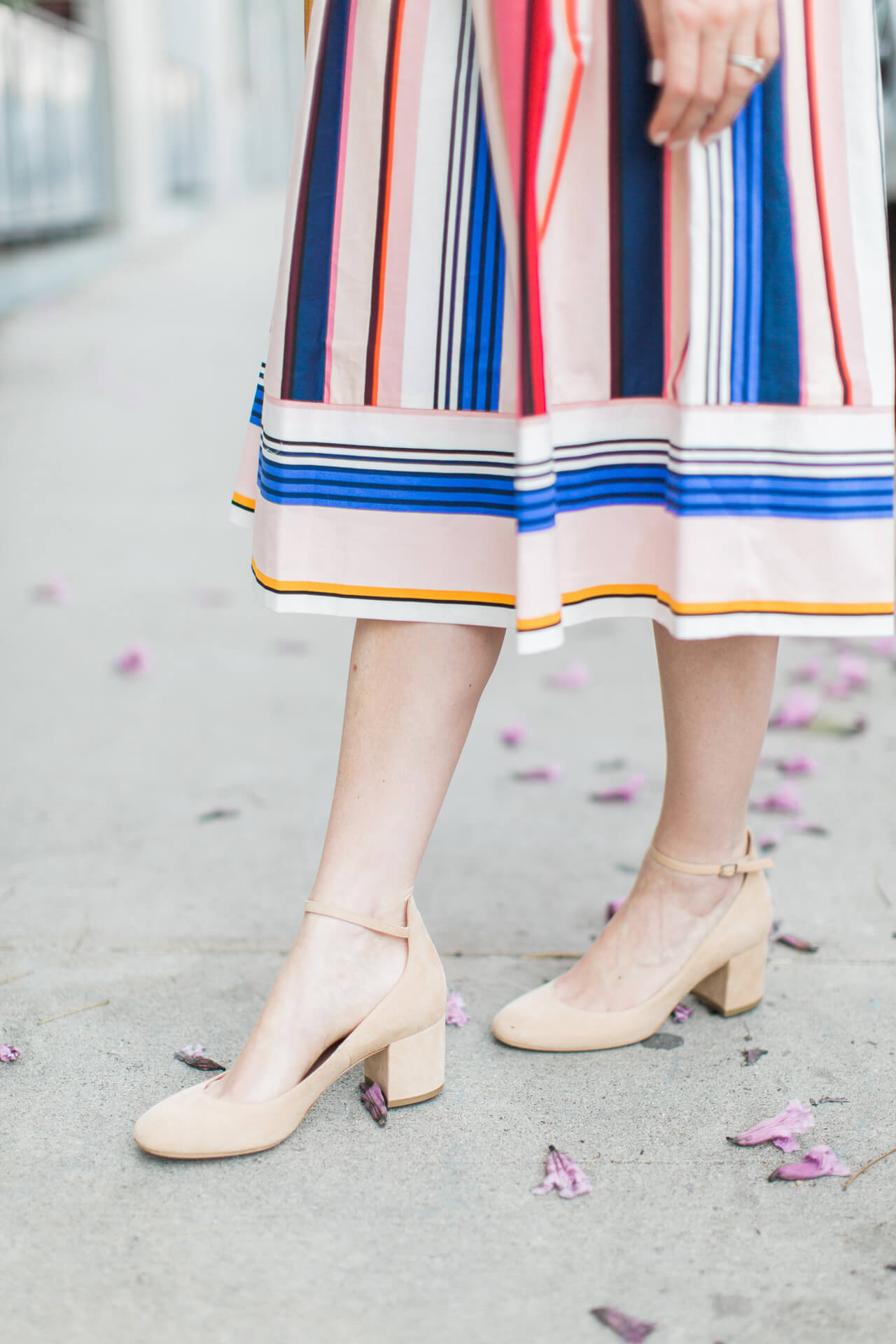 pair a neutral heel with this colorful dress