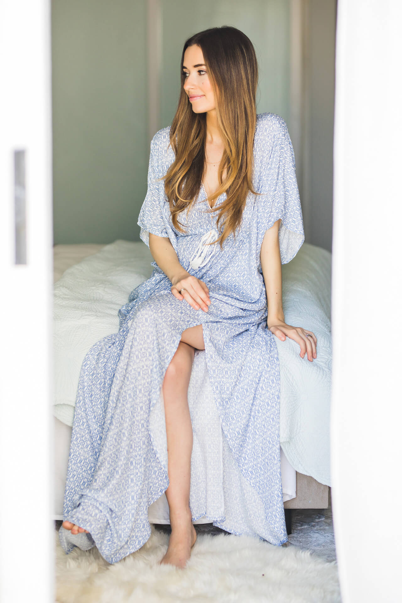 a pretty blue maxi caftan dress
