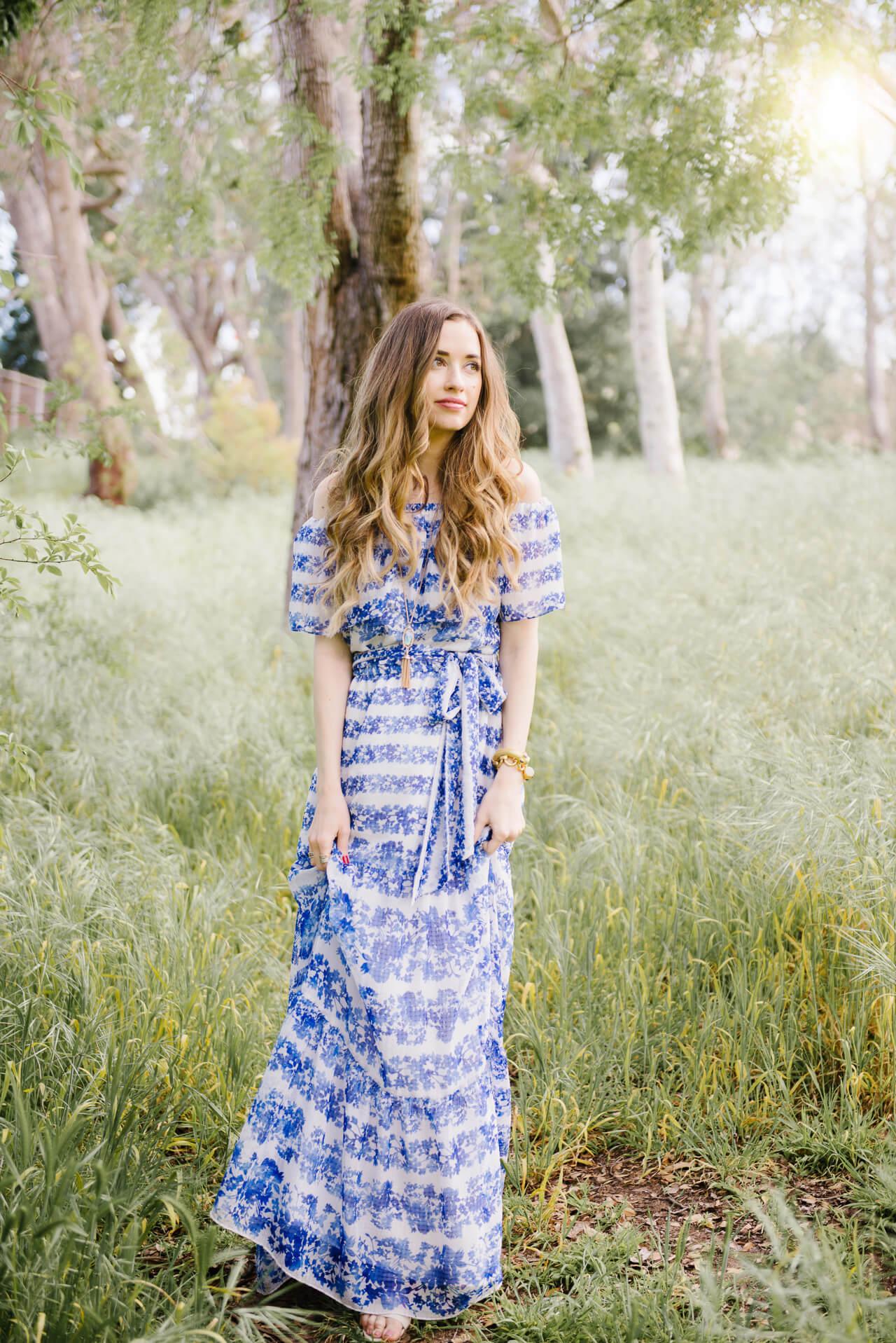 feminine spring maxi dress