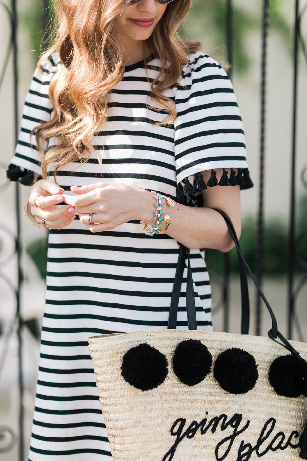 striped dress with tassel detail on sleeves