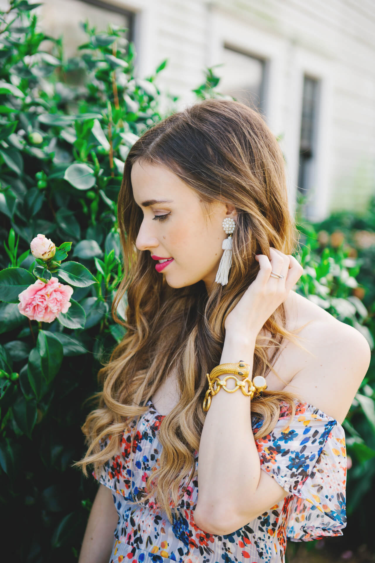 tassel earrings with floral dress