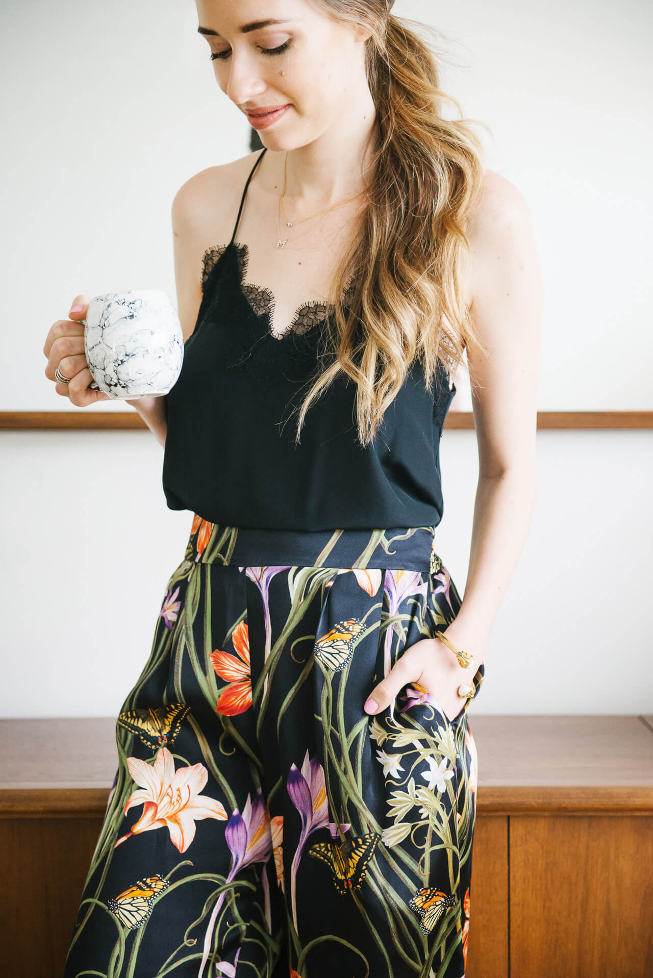 casual at home outfit with lace cami and floral silk pants