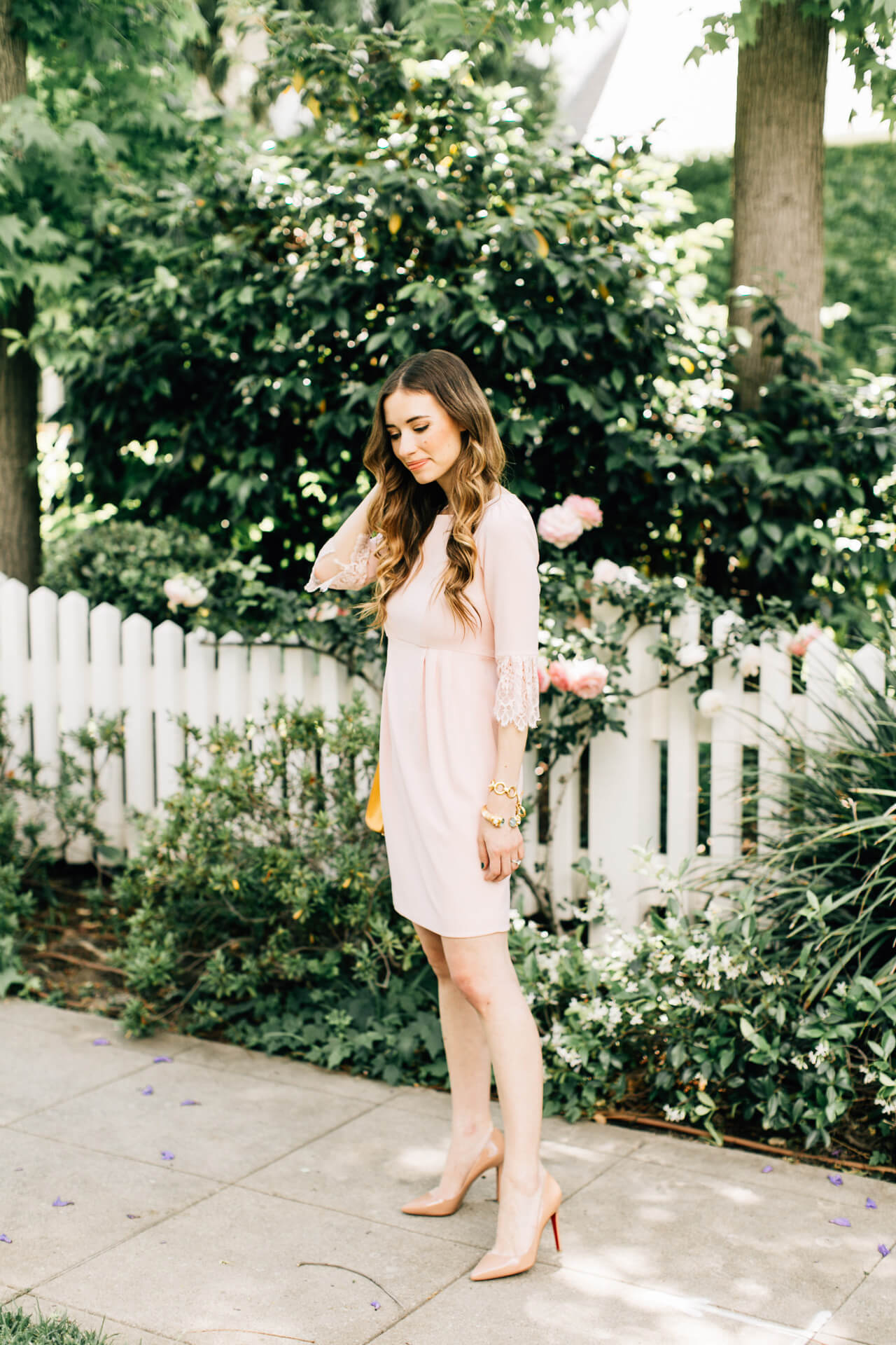 love this pretty feminine lace sleeve dress for spring