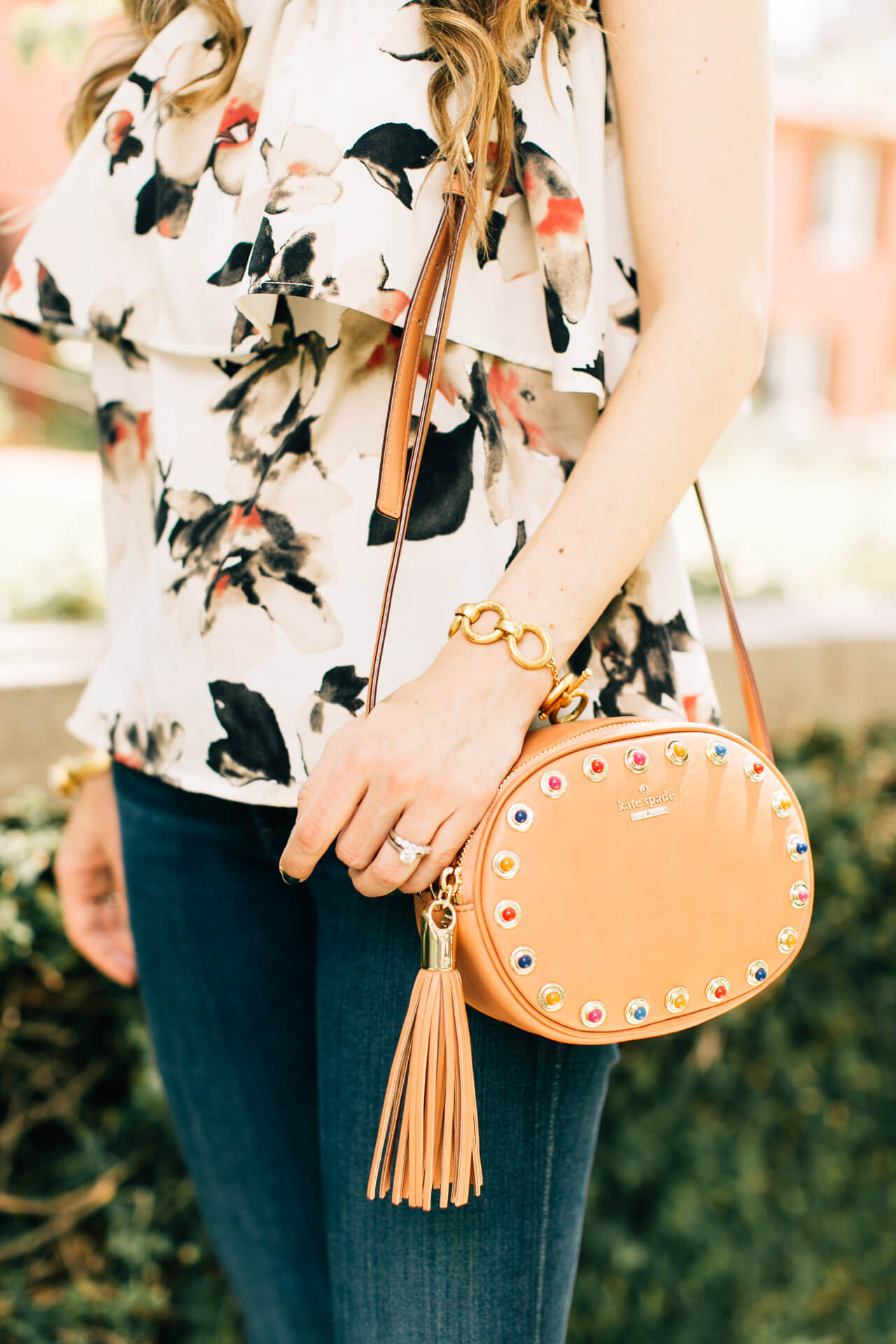 love this studded kate spade tinley crossbody bag