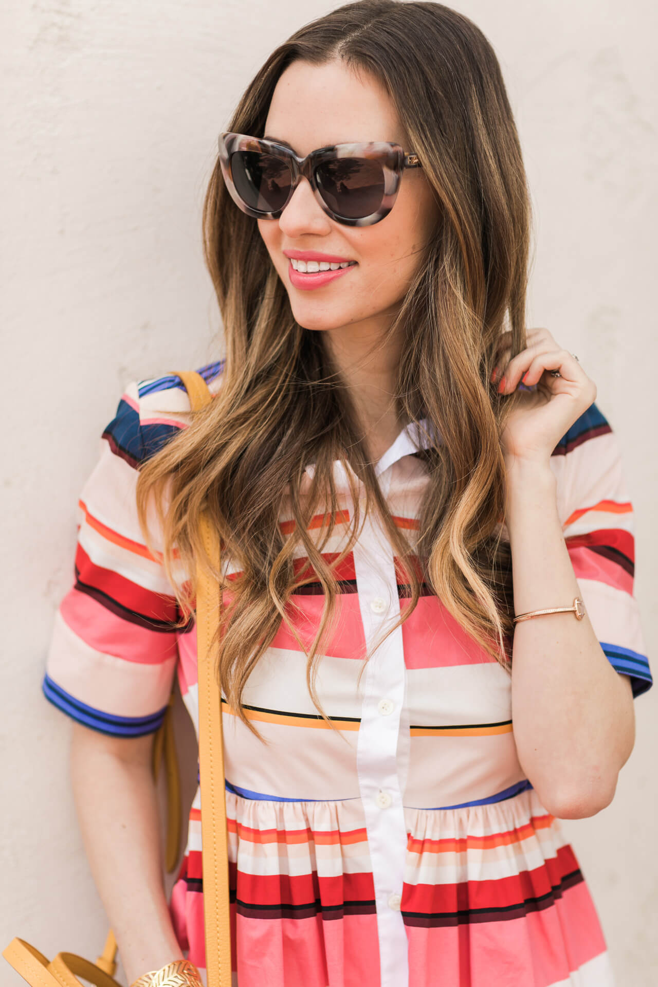 kate spade striped dress with pink tortoise sunglasses