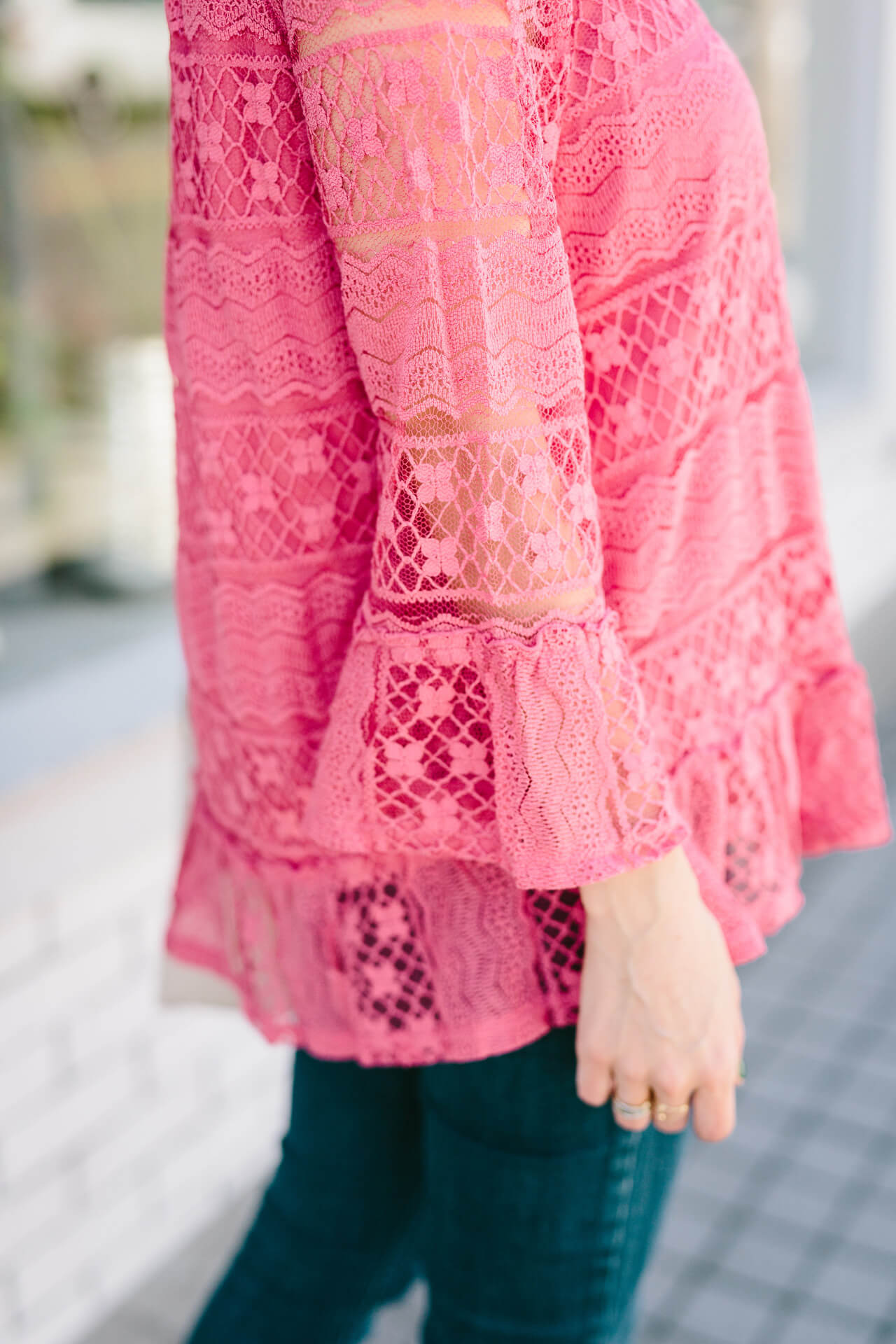 lace bell sleeve blouse-  so pretty for spring!