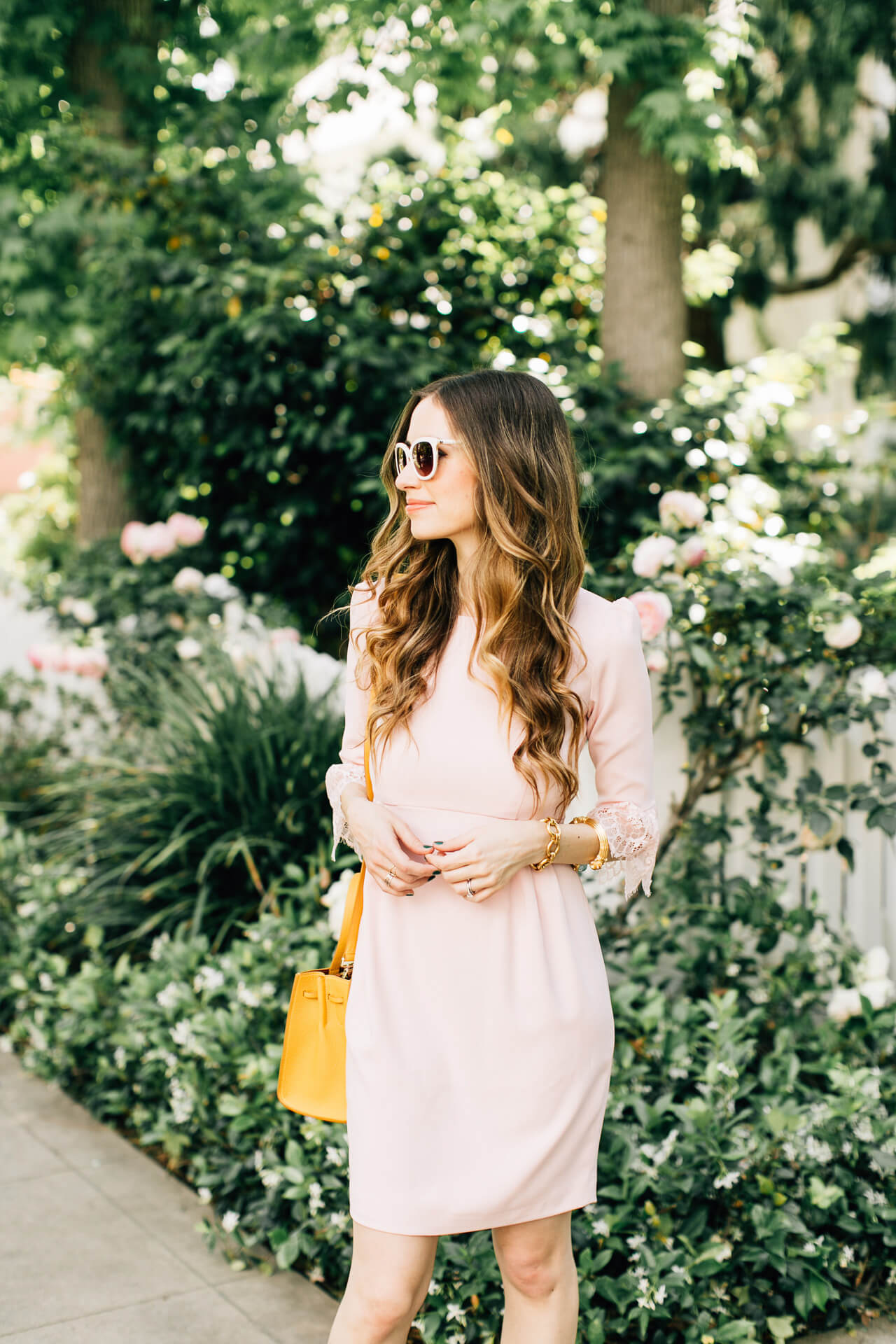 love this pink empire waist feminine dress from camilyn beth