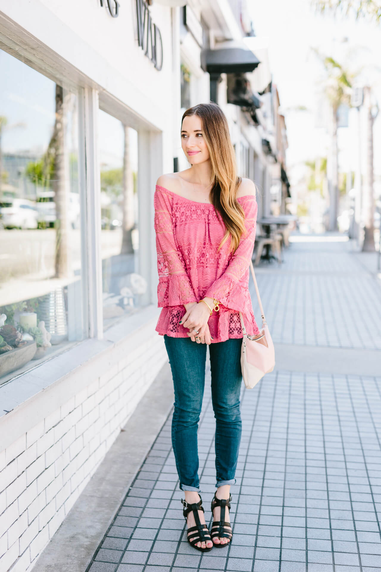 styling a pink lace blouse with jeans  - M Loves M @marmar