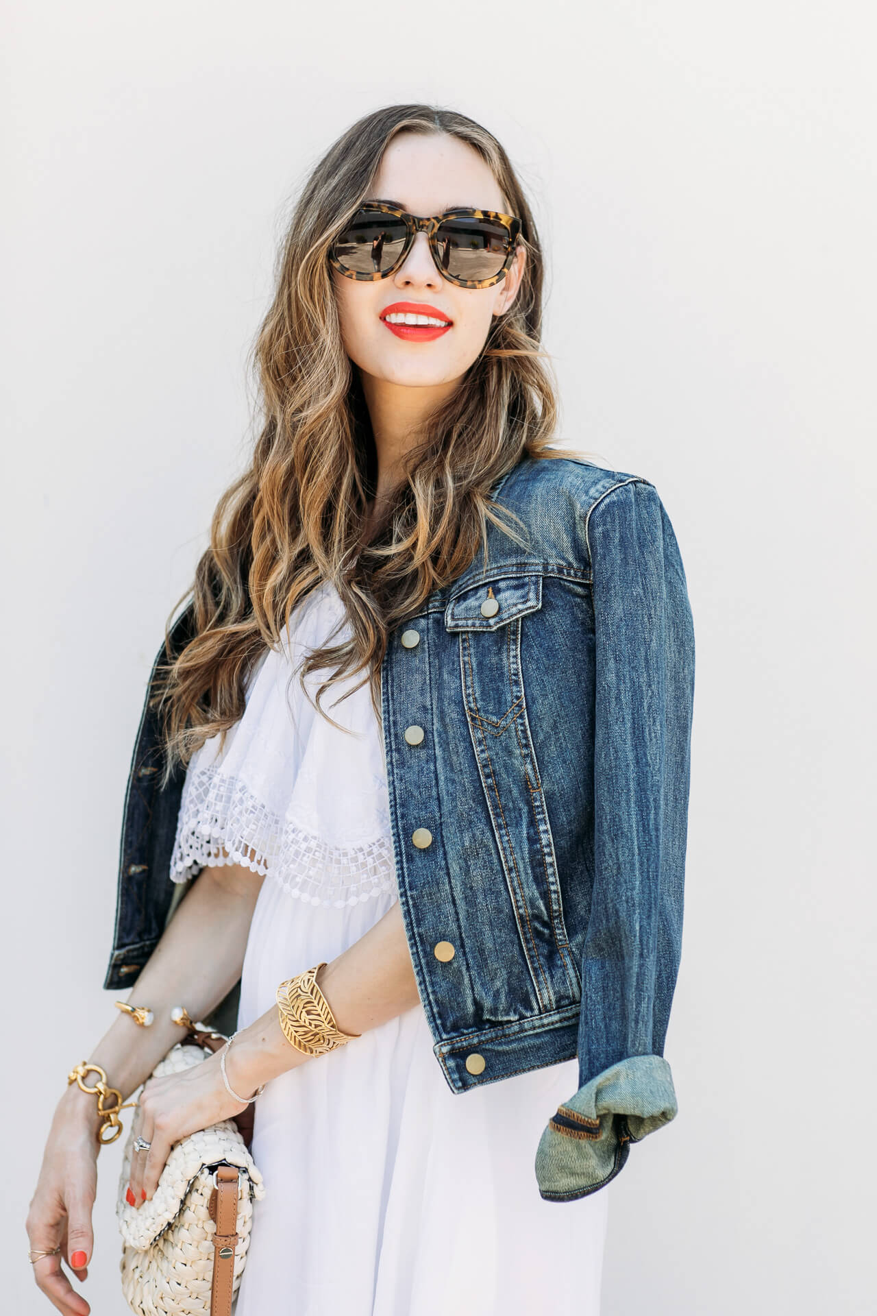 How to style a denim jacket for the fourth of July with pretty red lip pop