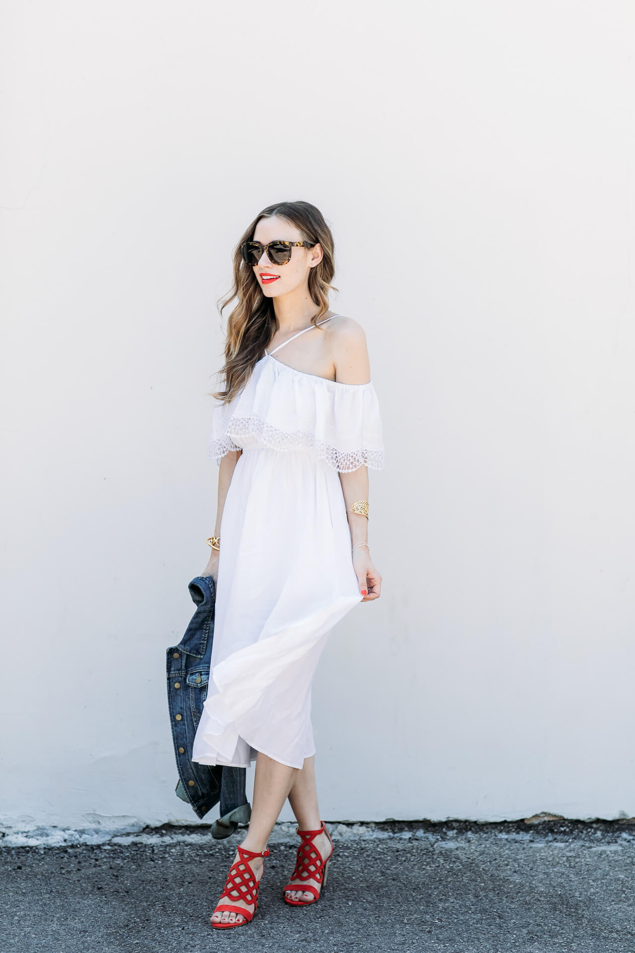 flowy midi white dress for a cute fourth of July outfit