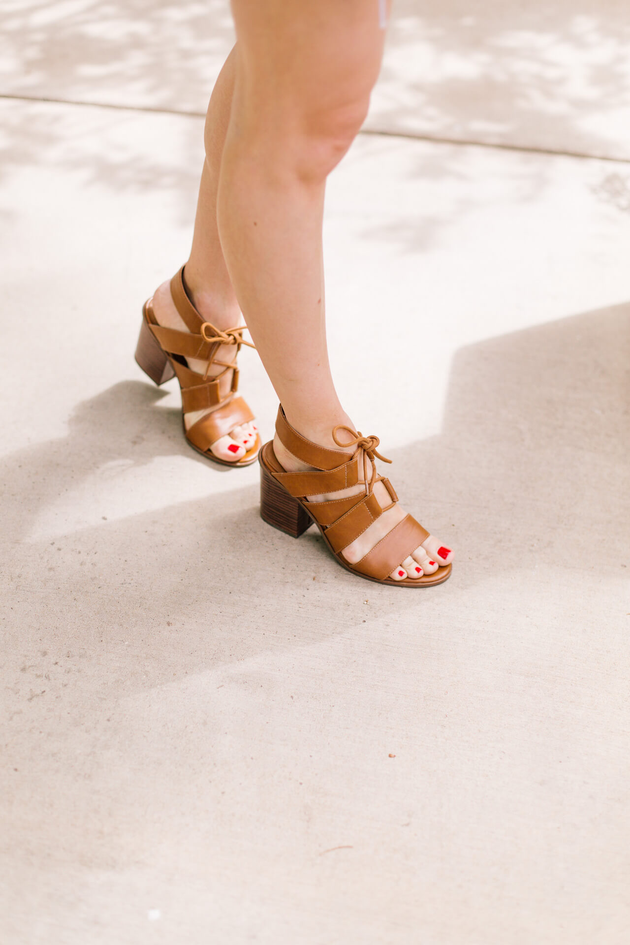 love these brown faux leather sandal heels - such a good price too!