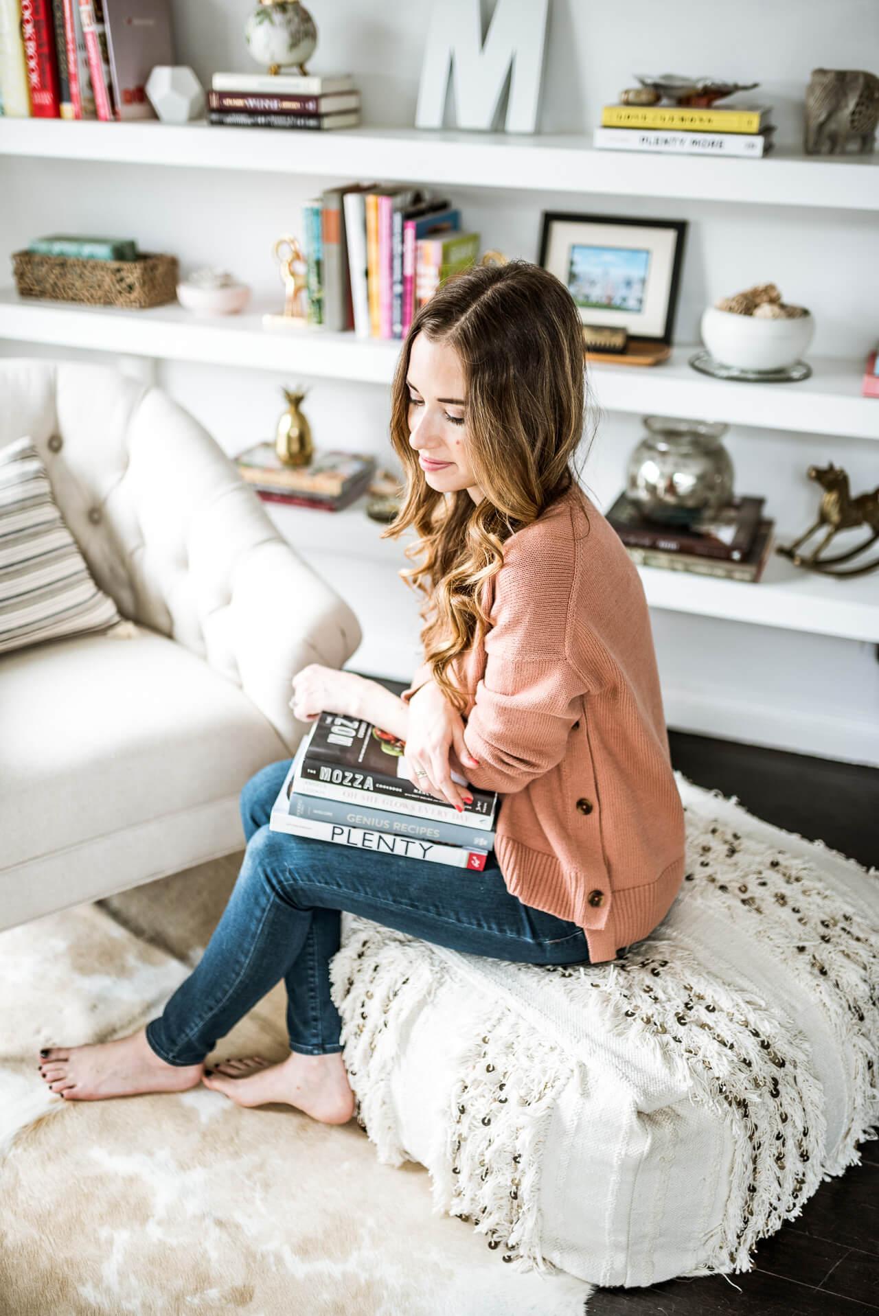 at home blogger talking on favorite cookbooks