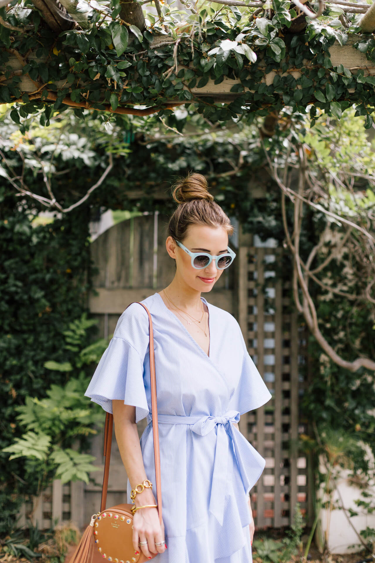 love this blue striped topshop dress for summer