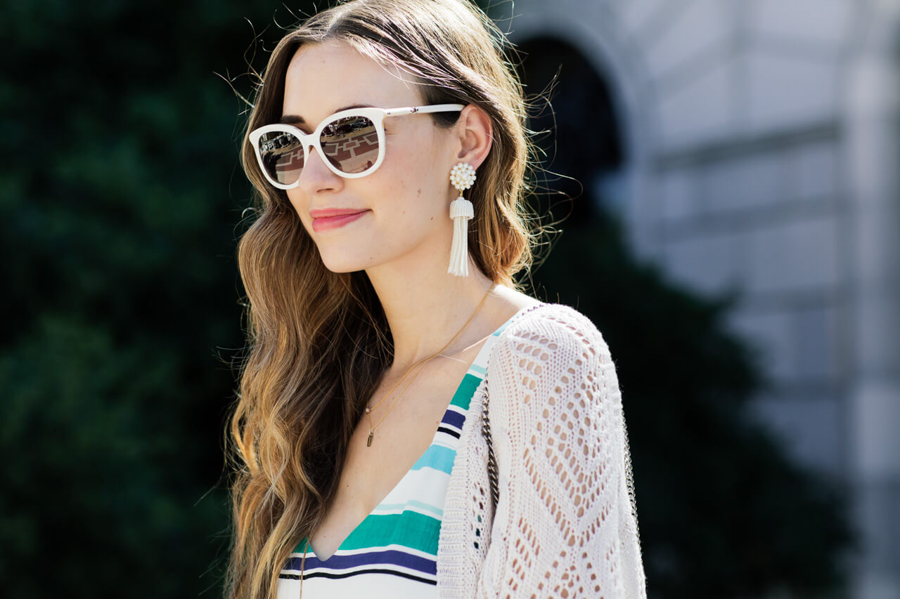 these white tassel earrings add such a fun touch to your spring outfits