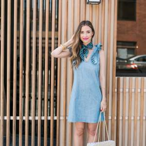 cute summer chambray outfit with the under $15 accessory every girl needs this summer- M Loves M @marmar