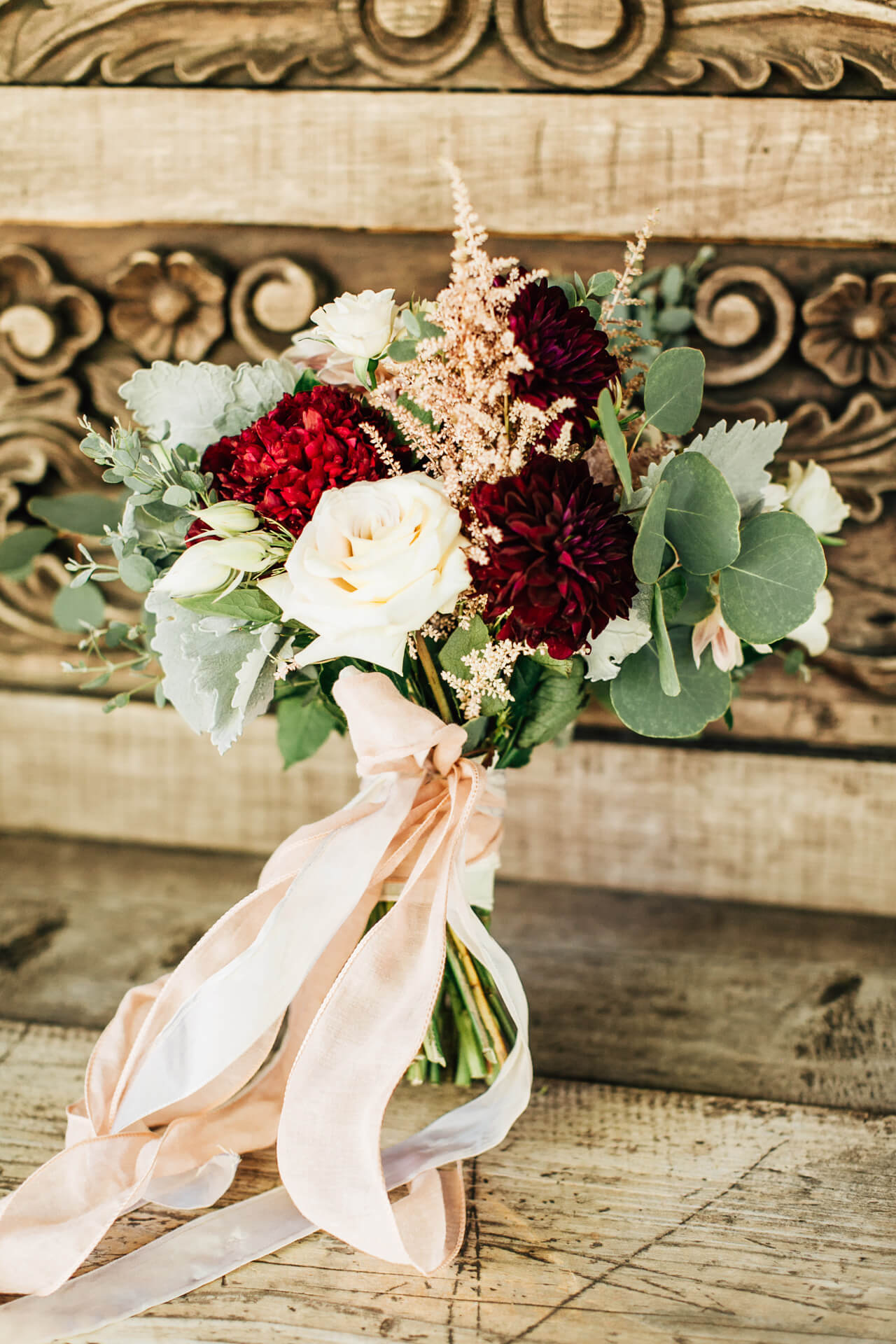 red cream and green bridal bouquet