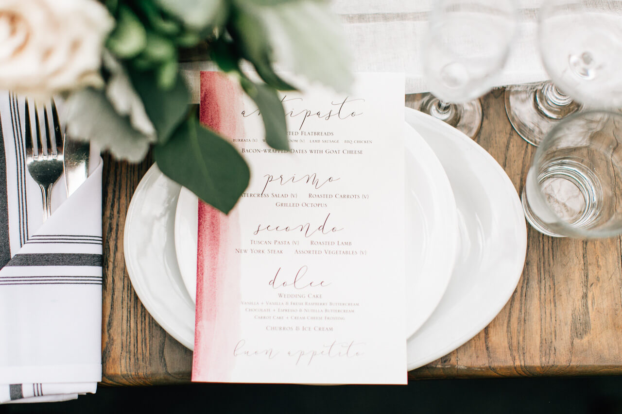hand-dyed menu for los angeles summer wedding